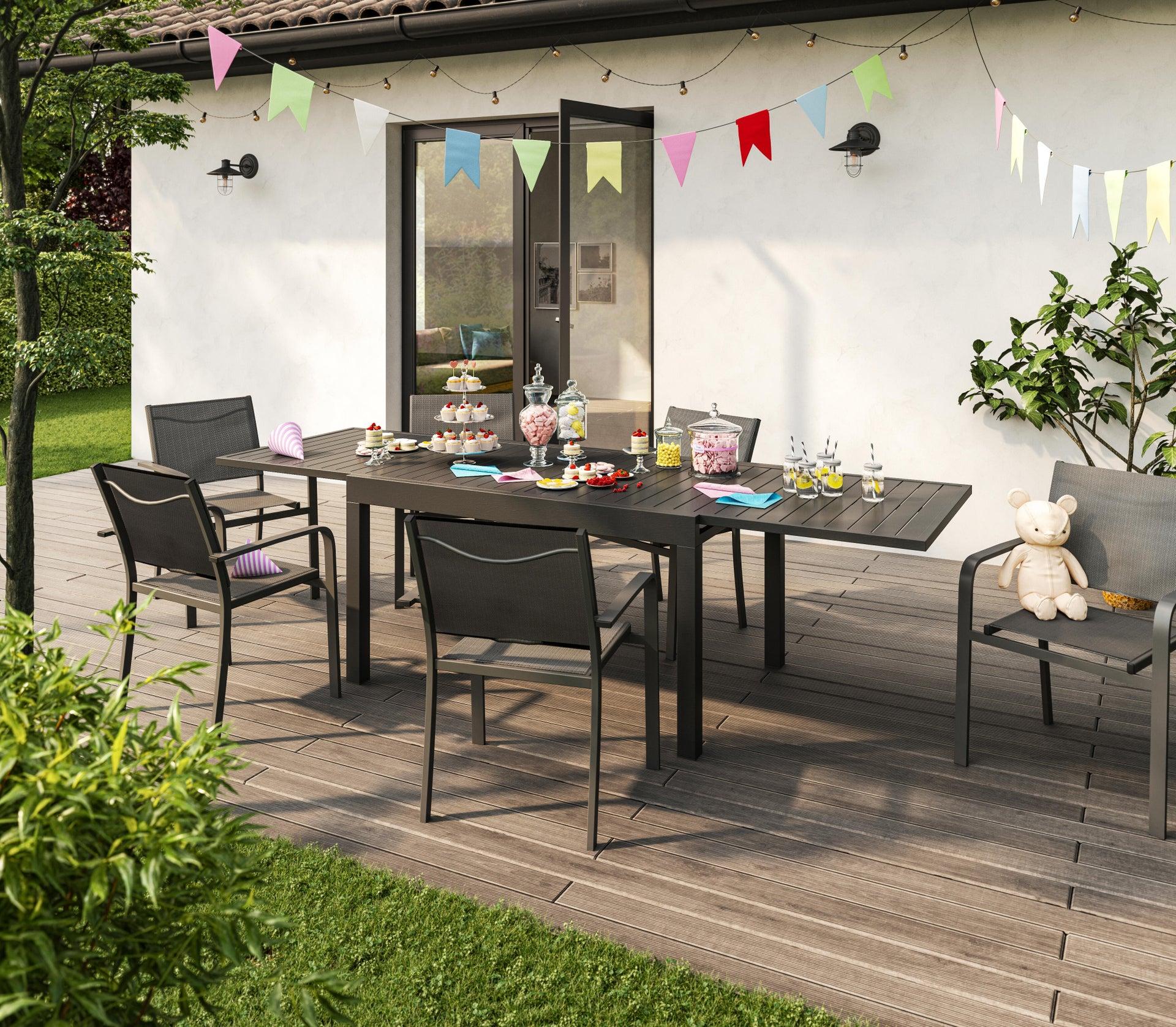 Tavolo da giardino allungabile rettangolare Lisbon con piano in alluminio L 135/270 x P 90 cm - 11