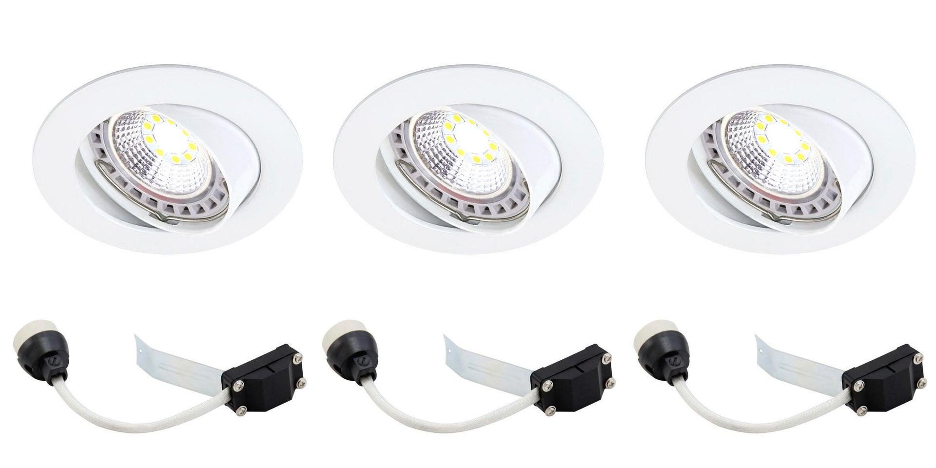 Set da 3 pezzi Faretto orientabile da incasso tondo Clane in Alluminio bianco, diam. 8.2 cm GU10 6W IP23 INSPIRE - 6