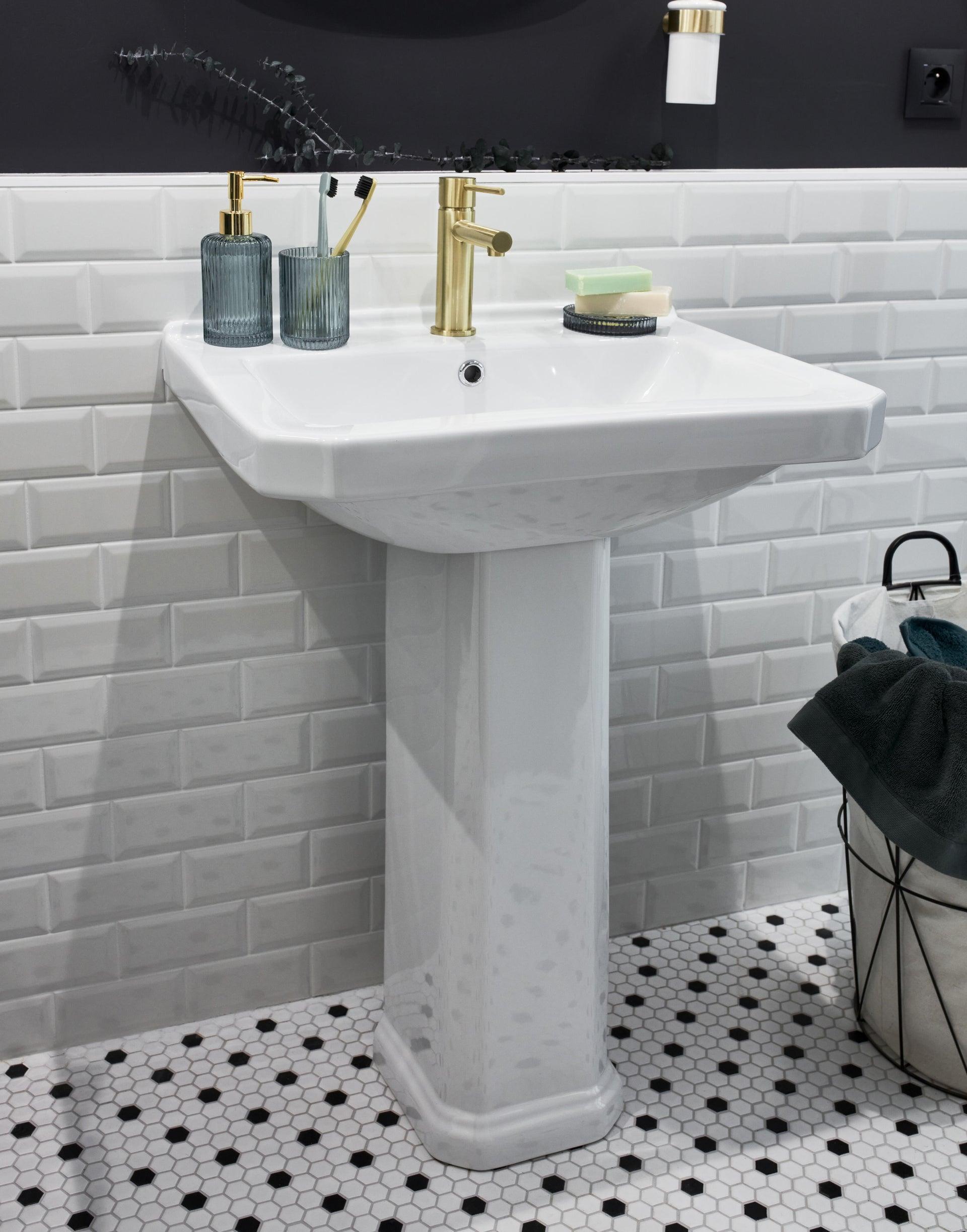 Lavabo quadrato L 43 x P 39.5 cm in ceramica bianco - 3