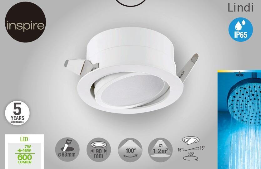 Faretto orientabile da incasso tondo Lindi in Alluminio bianco, diam. 9 cm LED integrato 500LM IP65 INSPIRE - 8