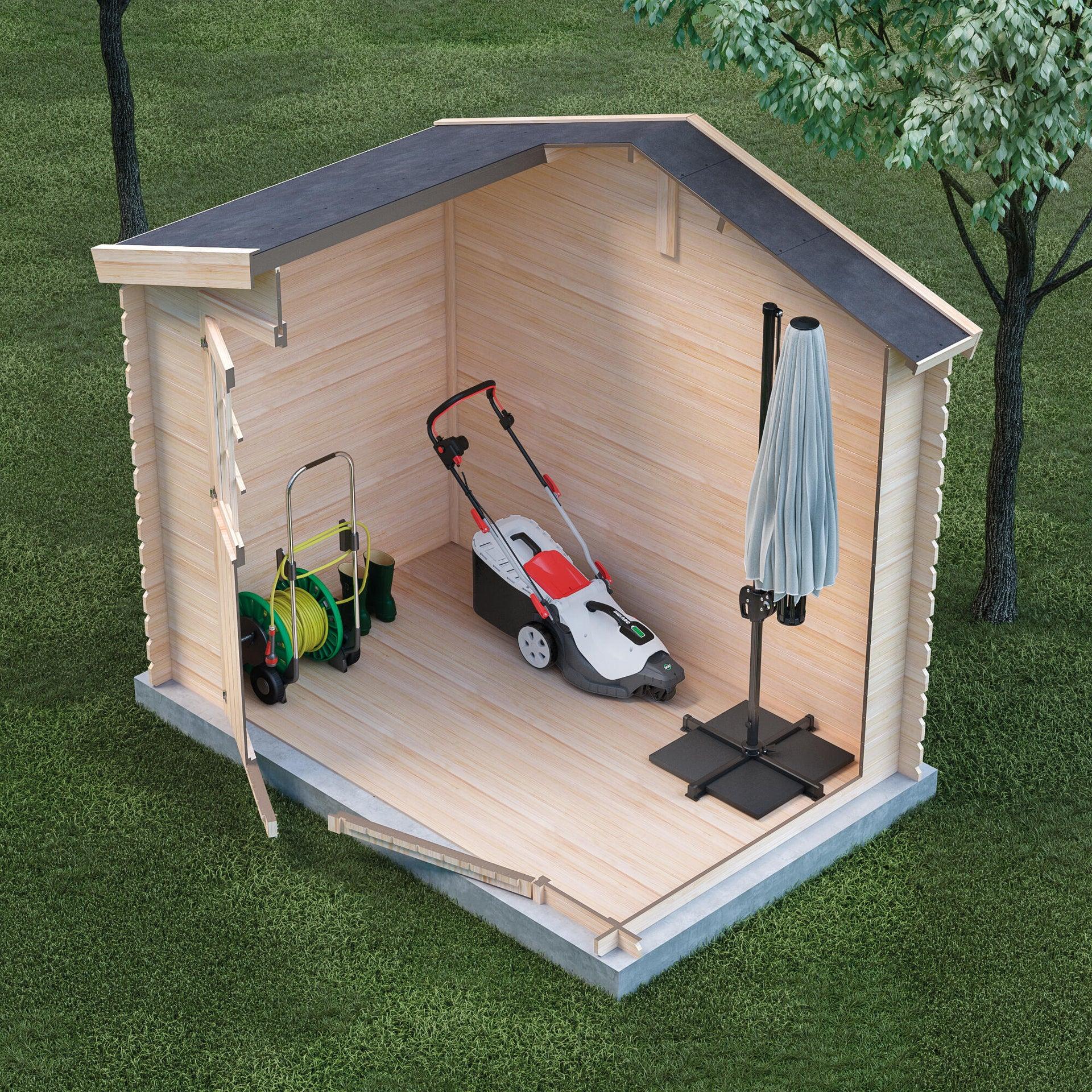 Casetta da giardino in legno Impregnata Narciso, superficie interna 3.73 m² e spessore parete 19 mm - 3