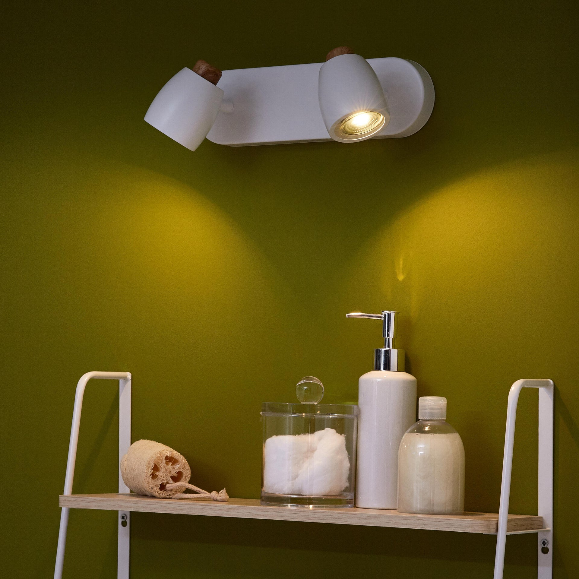Faretto a muro Nordic bianco, marrone, in ferro, GU10 2x42W IP20 INSPIRE - 3