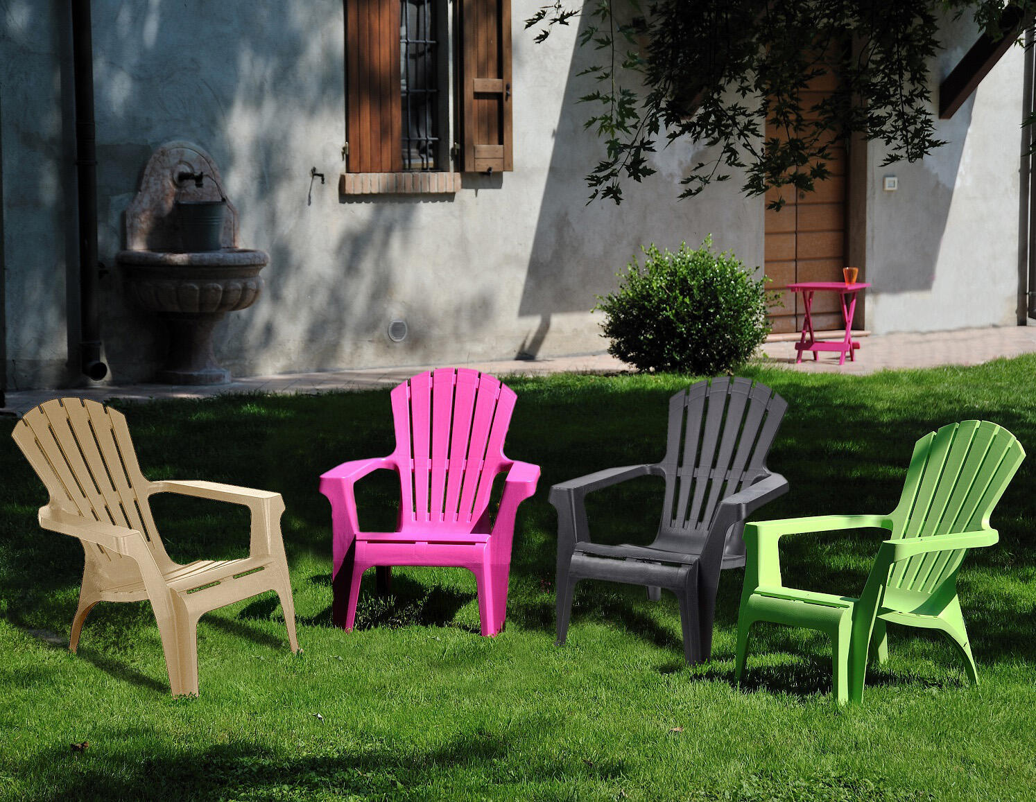 Sedia con braccioli senza cuscino in resina iniettata Dolomiti TELEHIT GARDEN colore antracite - 3