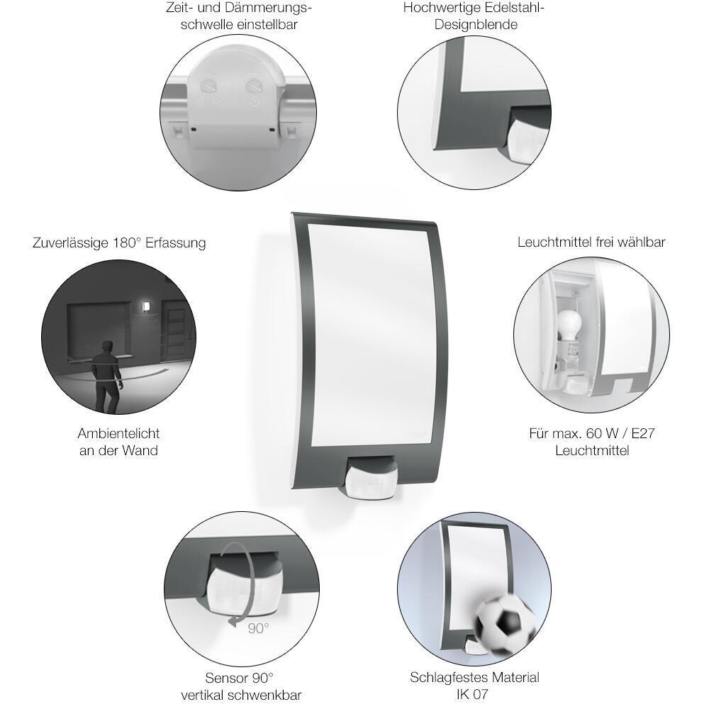 Applique L 22 S con sensore di movimento, in acciaio inossidabile, inox, E27 MAX60W IP44 STEINEL - 7