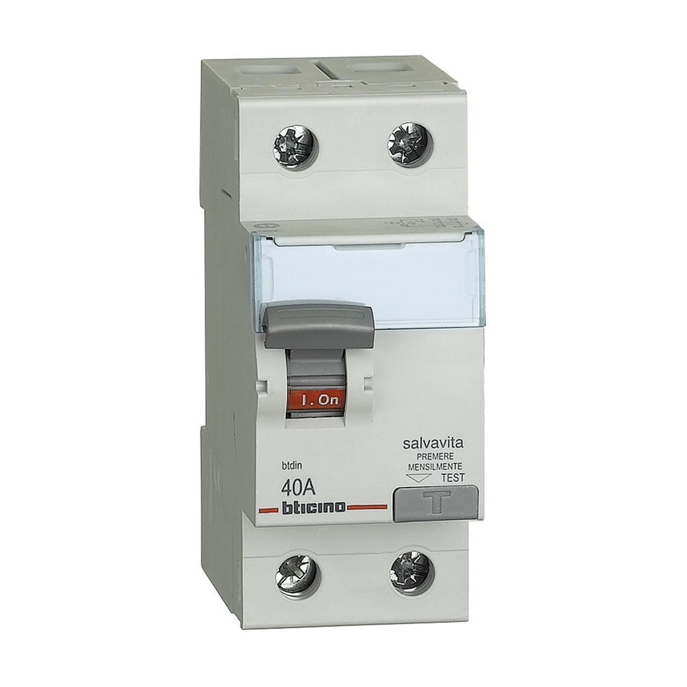 Interruttore differenziale puro BTICINO GC723AC40 2 poli 40A 30mA AC 2 moduli