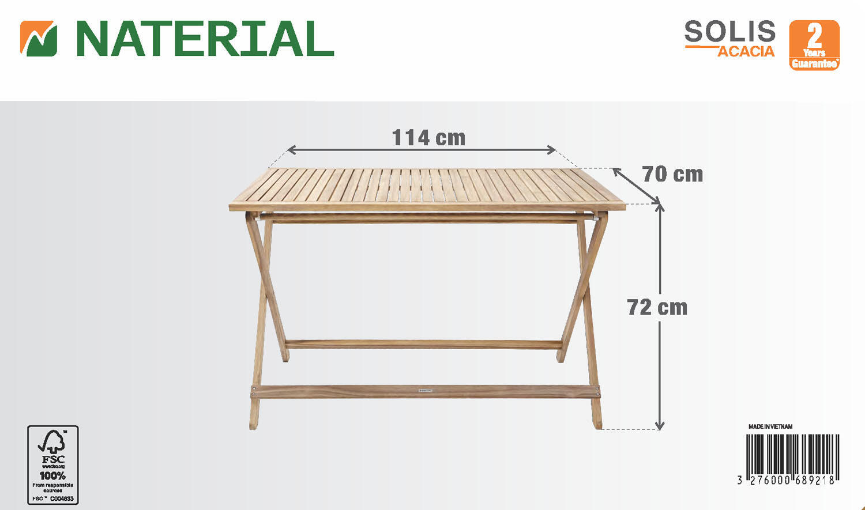 Tavolo da giardino rettangolare Solis NATERIAL con piano in legno L 70 x P 114 cm - 12