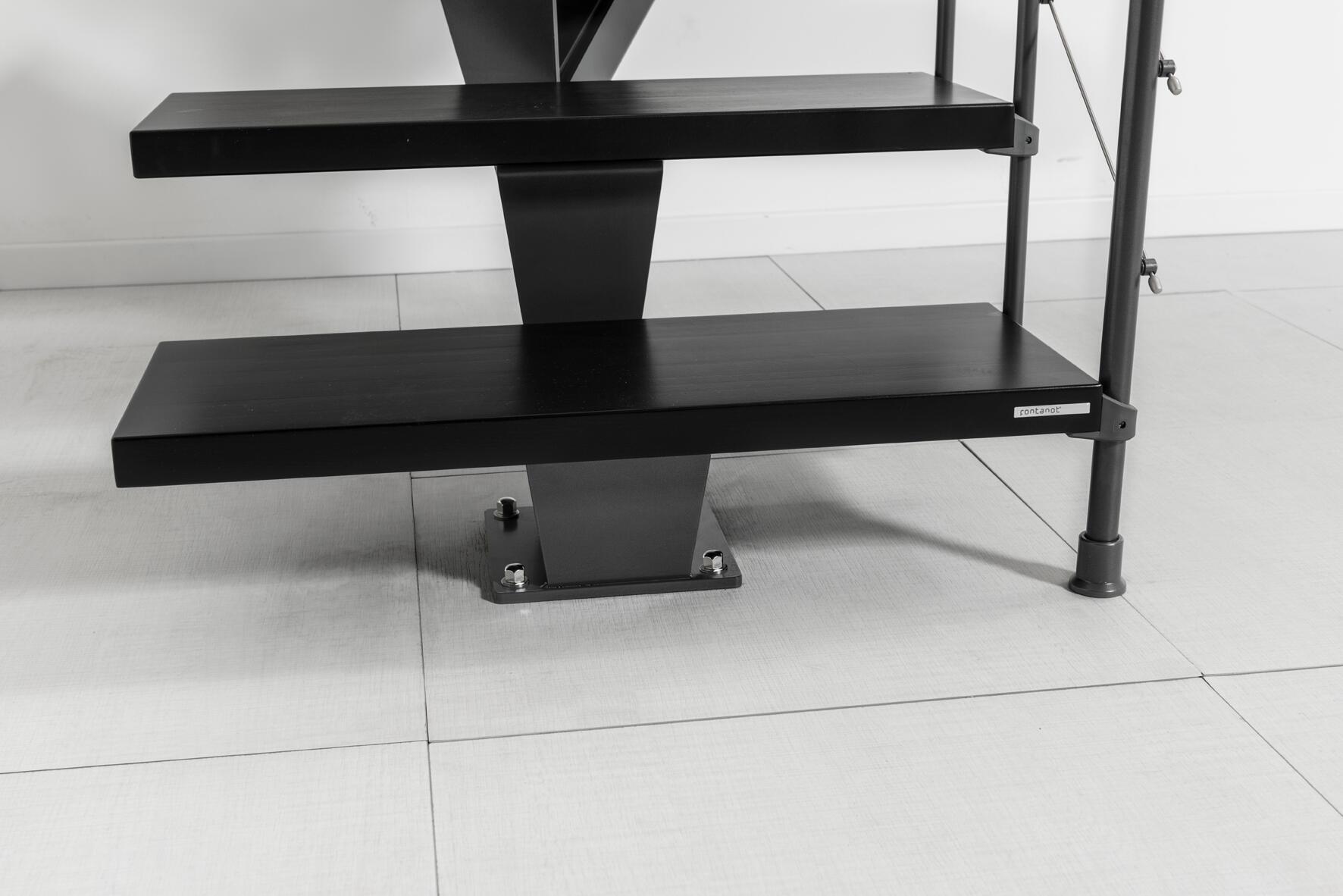Scala a rampa 1/4 di giro Mas FONTANOT L 85 cm, gradino grigio antracite scuro, struttura antracite - 4