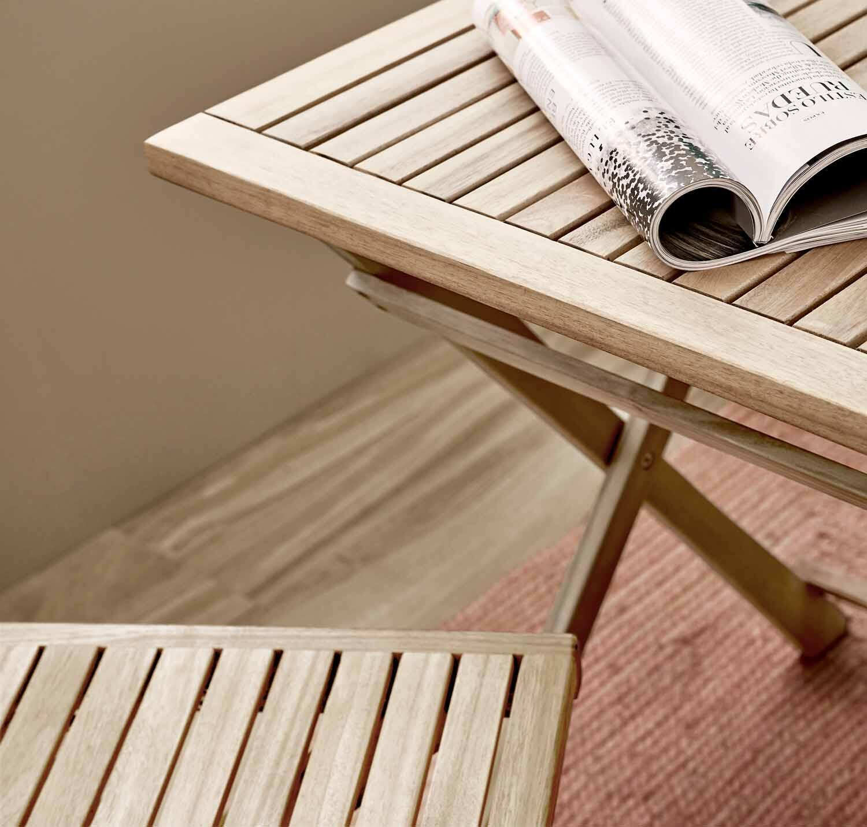 Tavolo da giardino rettangolare Solis NATERIAL con piano in legno L 70 x P 114 cm - 6