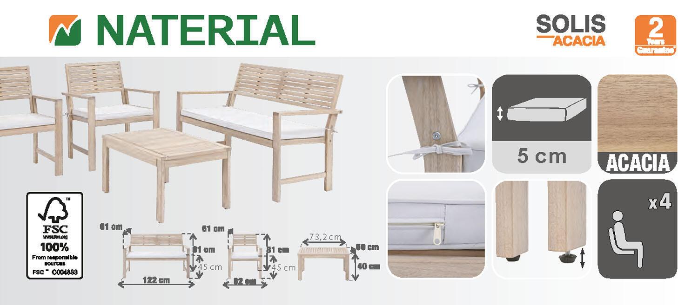 Coffee set rivestito in legno NATERIAL Solis per 4 persone - 13