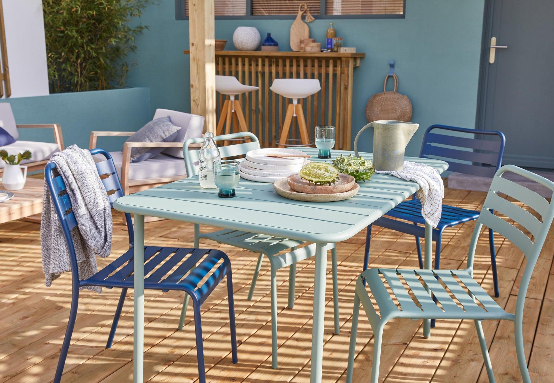 Tavolo da giardino rettangolare Cafe con piano in metallo L 70 x P 120 cm - 2