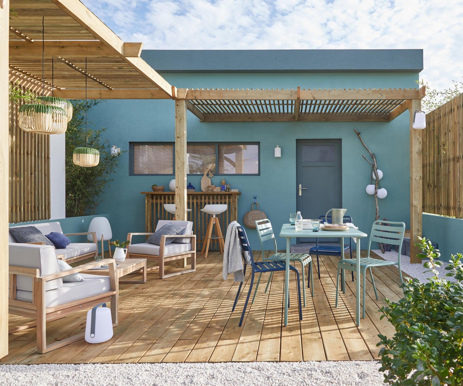 Tavolo da giardino rettangolare Cafe con piano in metallo L 70 x P 120 cm - 3