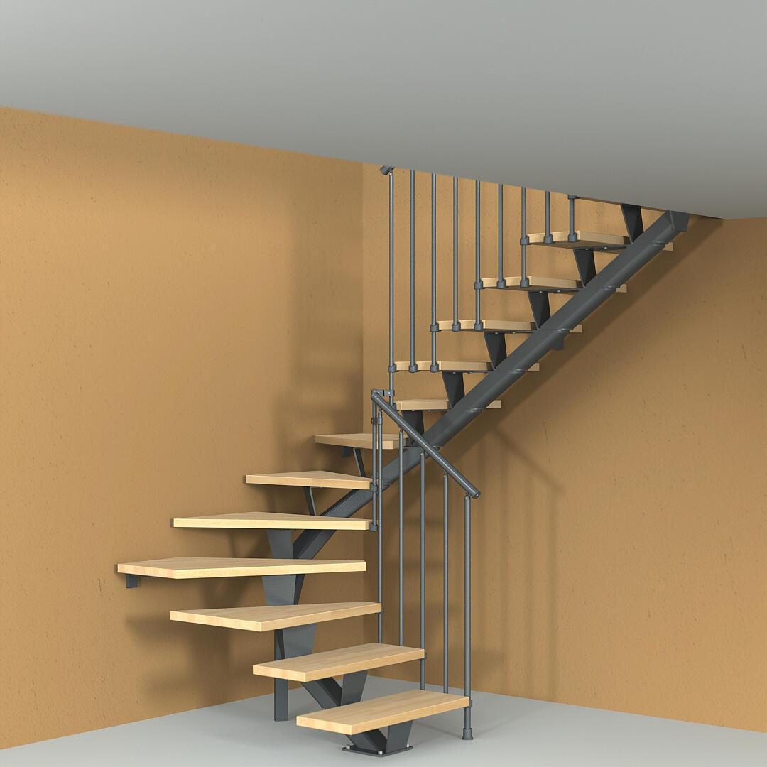Scala a rampa due quarti di giro Mas 030 FONTANOT L 75 cm, gradino naturale, struttura antracite - 4