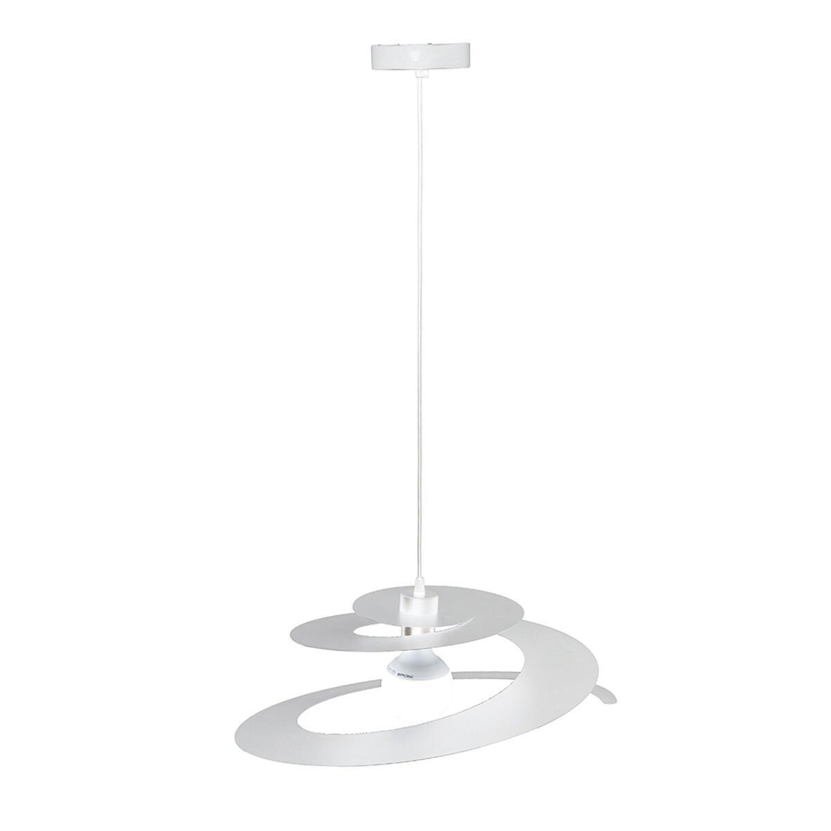 Lampadario Moderno Spirale bianco in metallo, L. 45 cm, NOVECENTO - 2