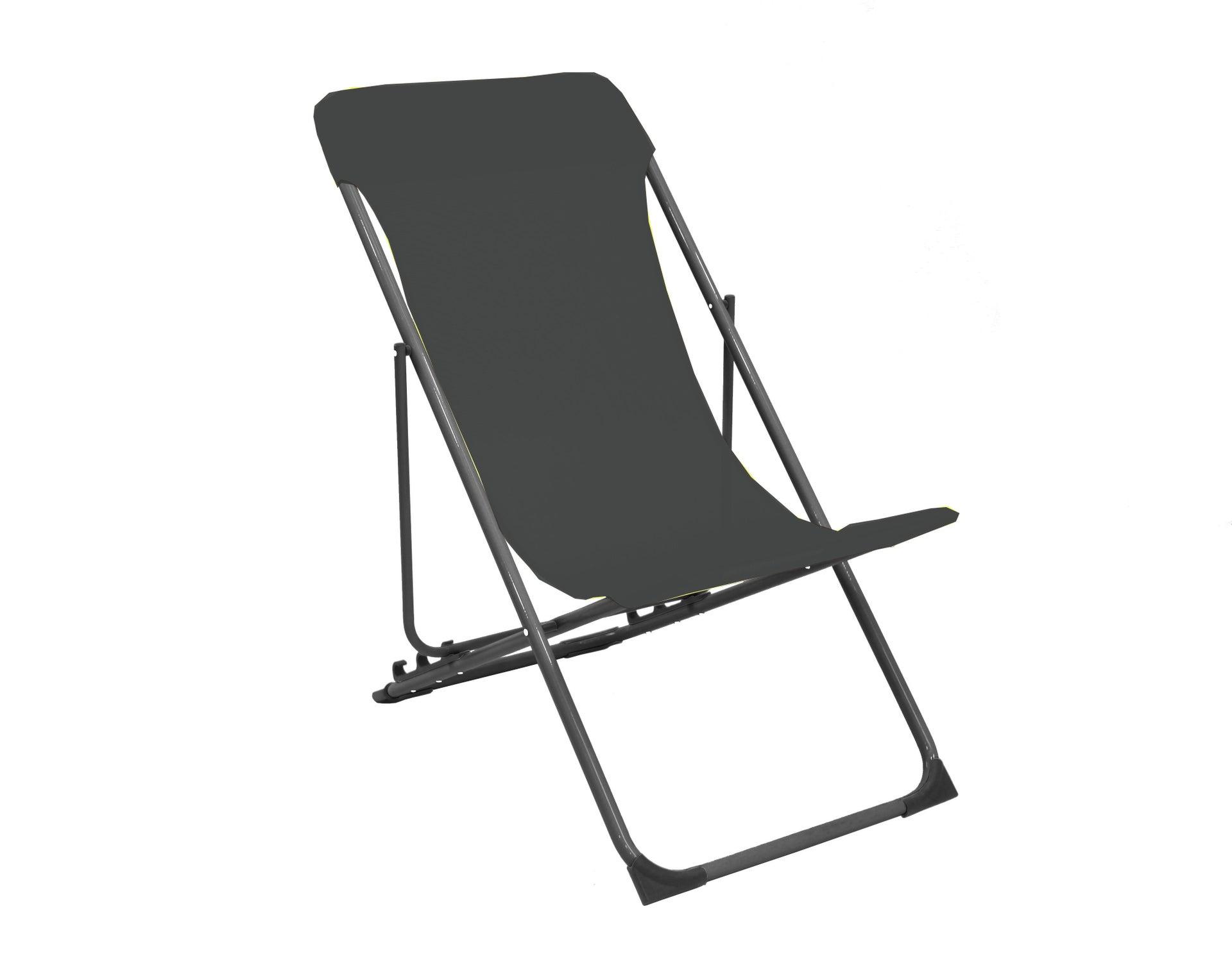 Sedia da giardino senza cuscino pieghevole in acciaio Biganos colore antracite - 4
