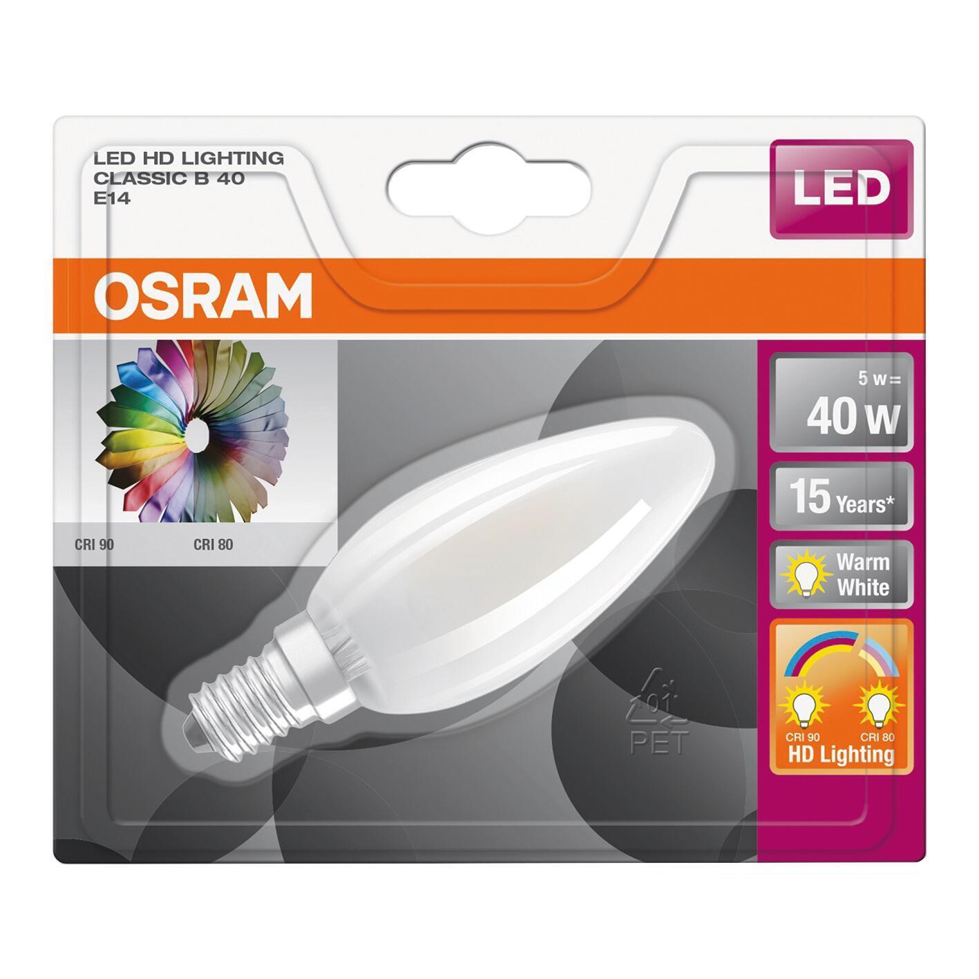 Lampadina LED filamento, E14, Oliva, Opaco, Luce calda, 5W=470LM (equiv 40 W), 300° , OSRAM - 3