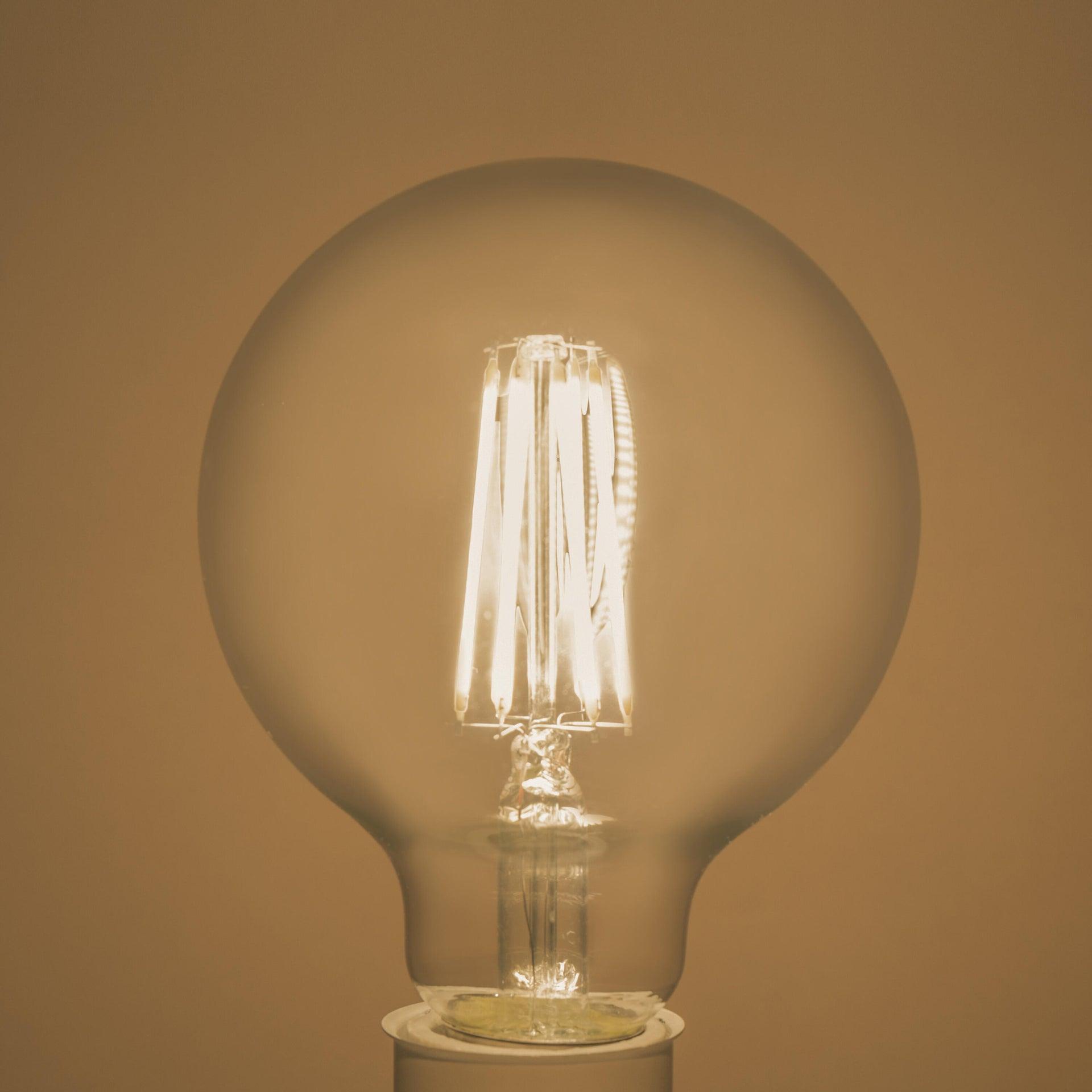 Lampadina LED filamento, E27, Globo, Trasparente, Luce naturale, 8W=1055LM (equiv 75 W), 360° , LEXMAN - 4