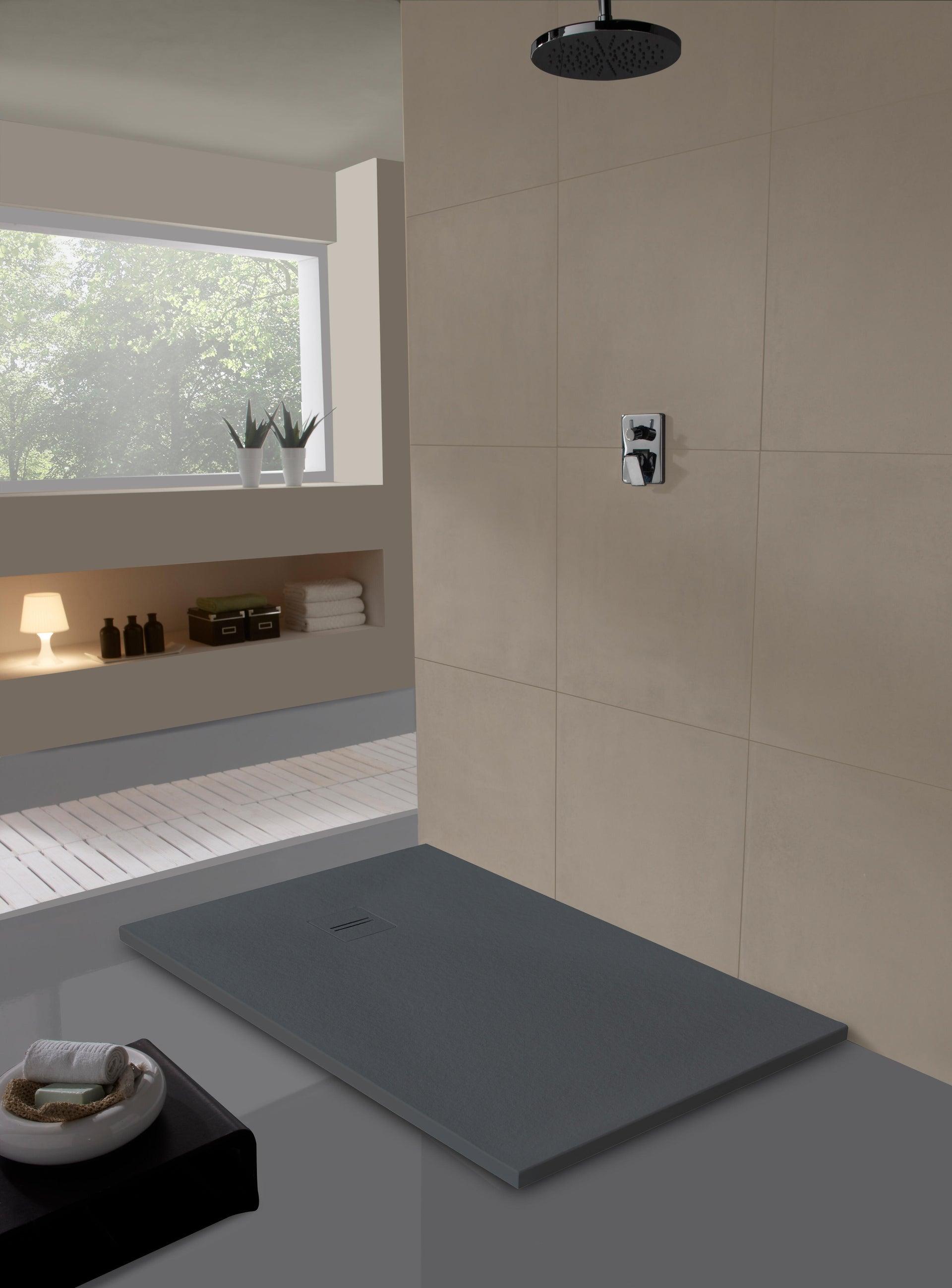 Piatto doccia ultrasottile resina Cosmos Stone 100 x 120 cm grigio - 2