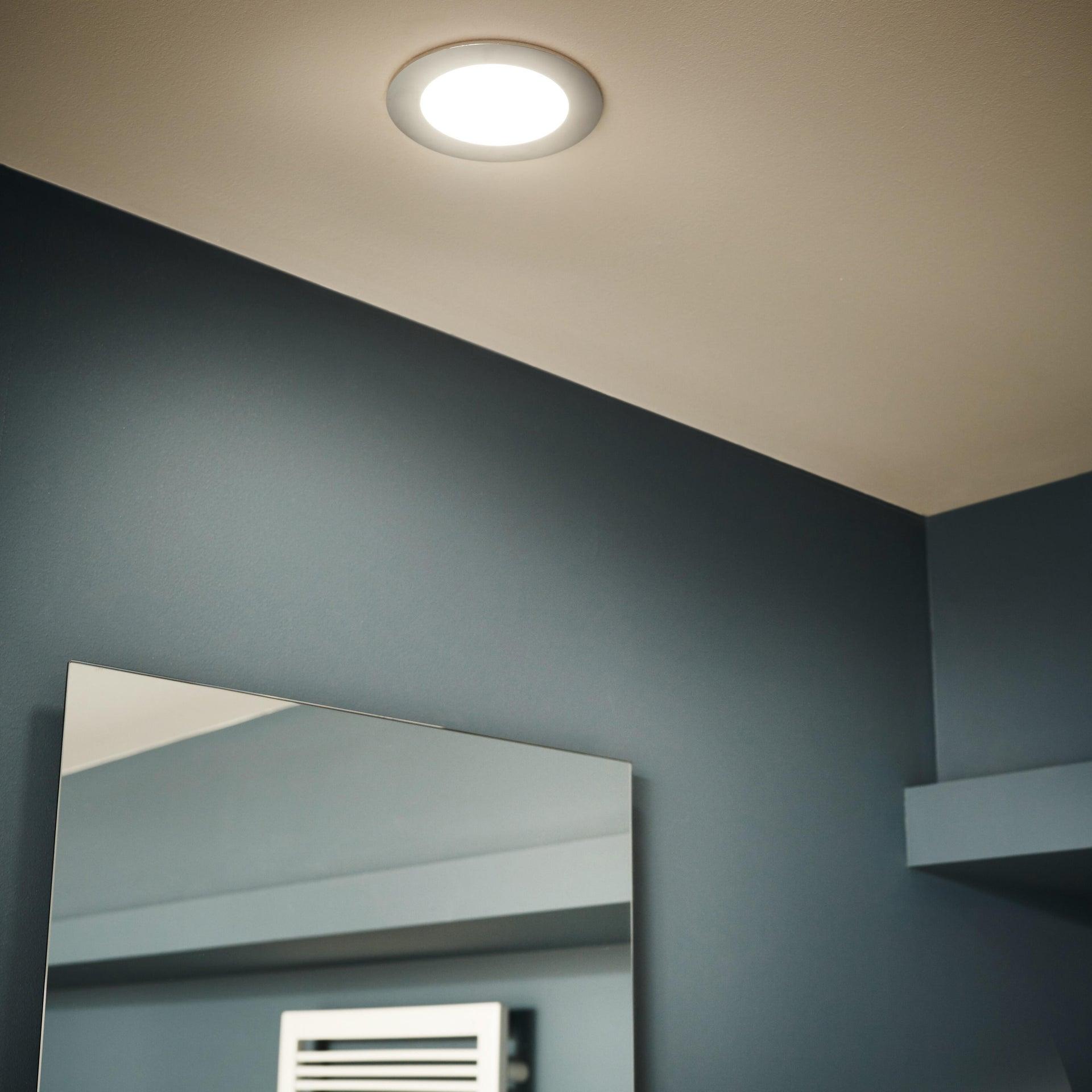 Faretto fisso da incasso tondo Ex.bath in Alluminio nichel, diam. 12 cm LED integrato 900LM IP44 INSPIRE - 1