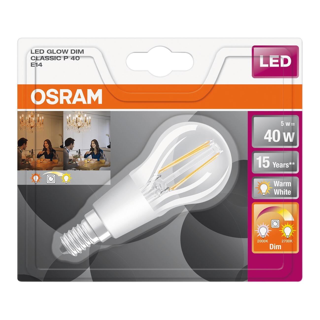 Lampadina LED, E14, Sferico, Trasparente, Luce calda, 4.5W=470LM (equiv 40 W), 300° , OSRAM - 3