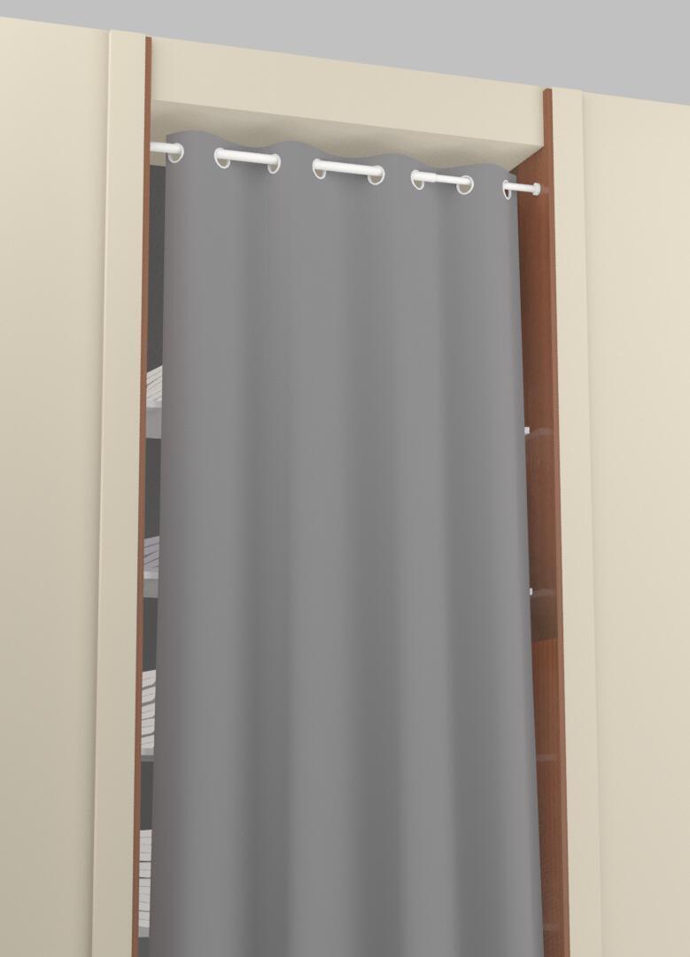 Kit bastone per tenda a pressione estensibile Ib + in metallo Ø 25 mm bianco satinato da 200 a 330 cm - 2