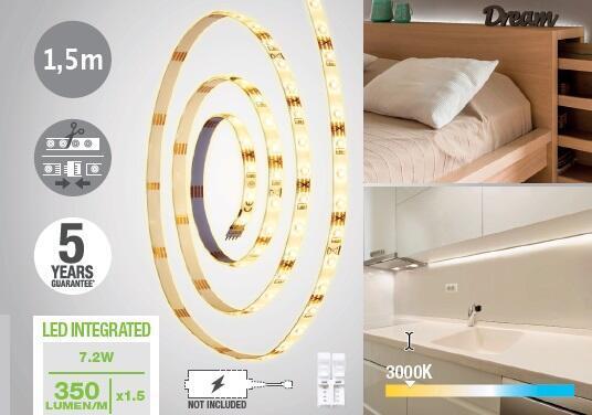Striscia led Noname 1.5m luce bianco caldo 400LM IP20 INSPIRE - 5