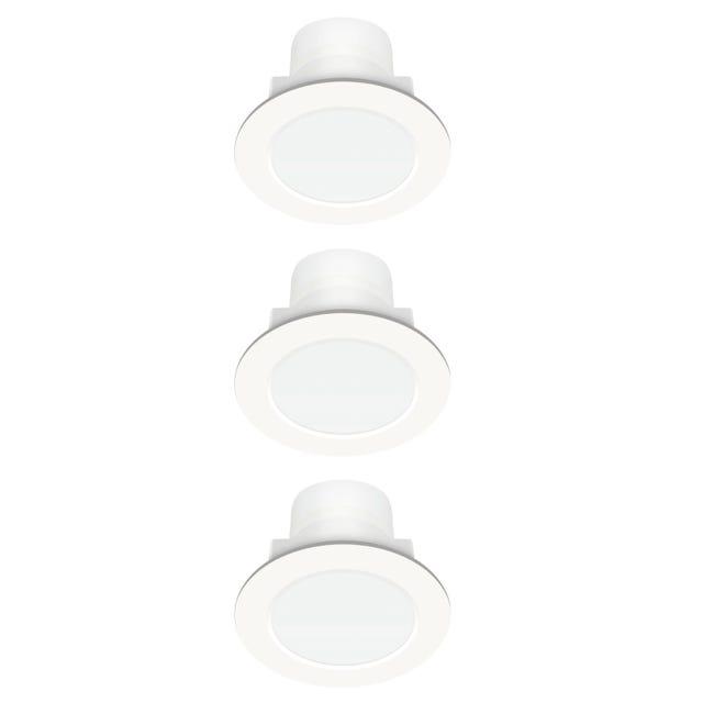 Set da 3 pezzi Faretto fisso da incasso tondo Rovigo bianco, diam. 8 cm LED integrato 400LM IP44 - 1