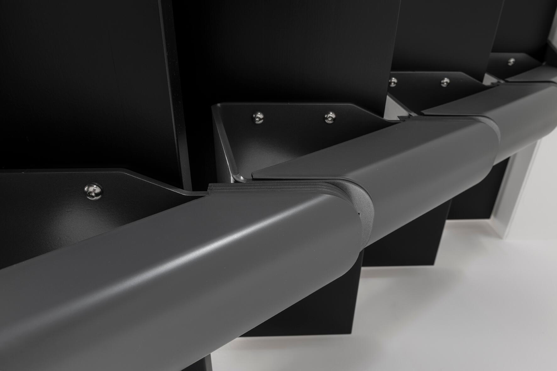 Scala a rampa 1/4 di giro Mas FONTANOT L 85 cm, gradino grigio antracite scuro, struttura antracite - 19
