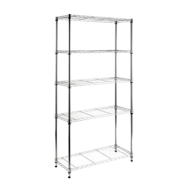 Scaffale in metallo Spaceo Chrome Style+ L 90 x P 35 x H 178 cm - 1