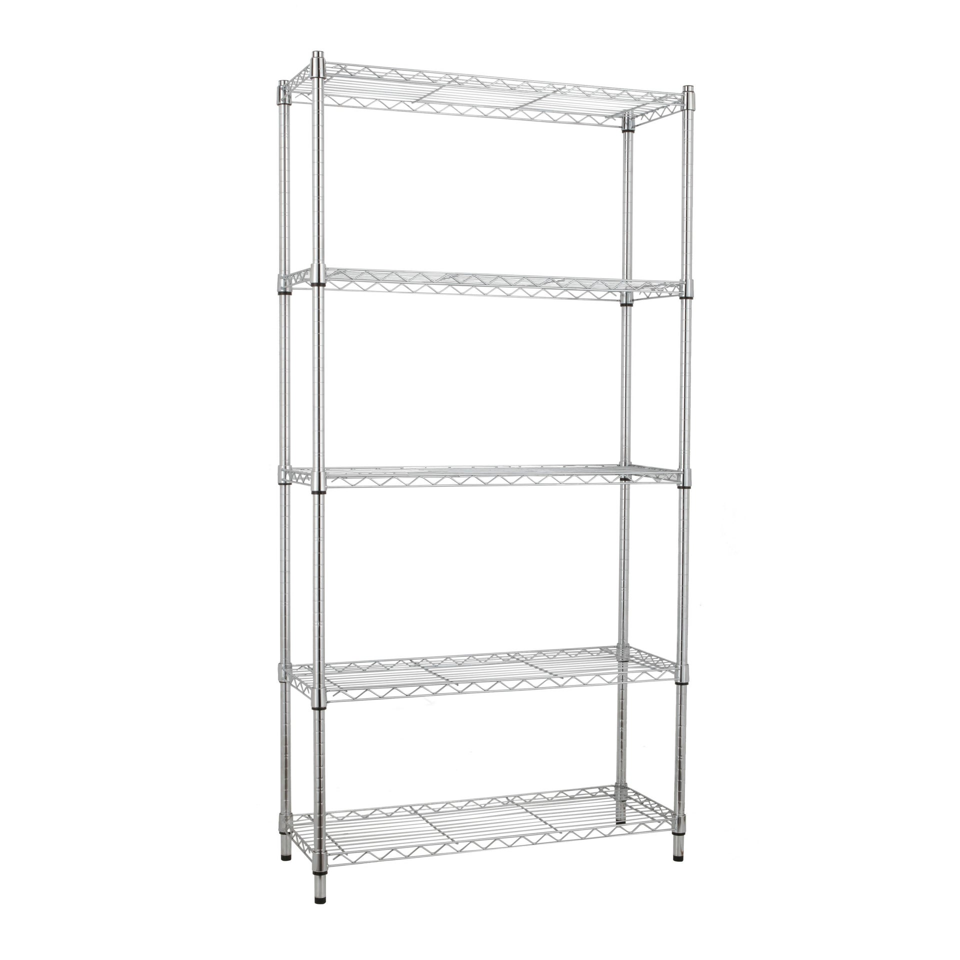 Scaffale in metallo Spaceo Chrome Style+ L 90 x P 35 x H 178 cm - 4