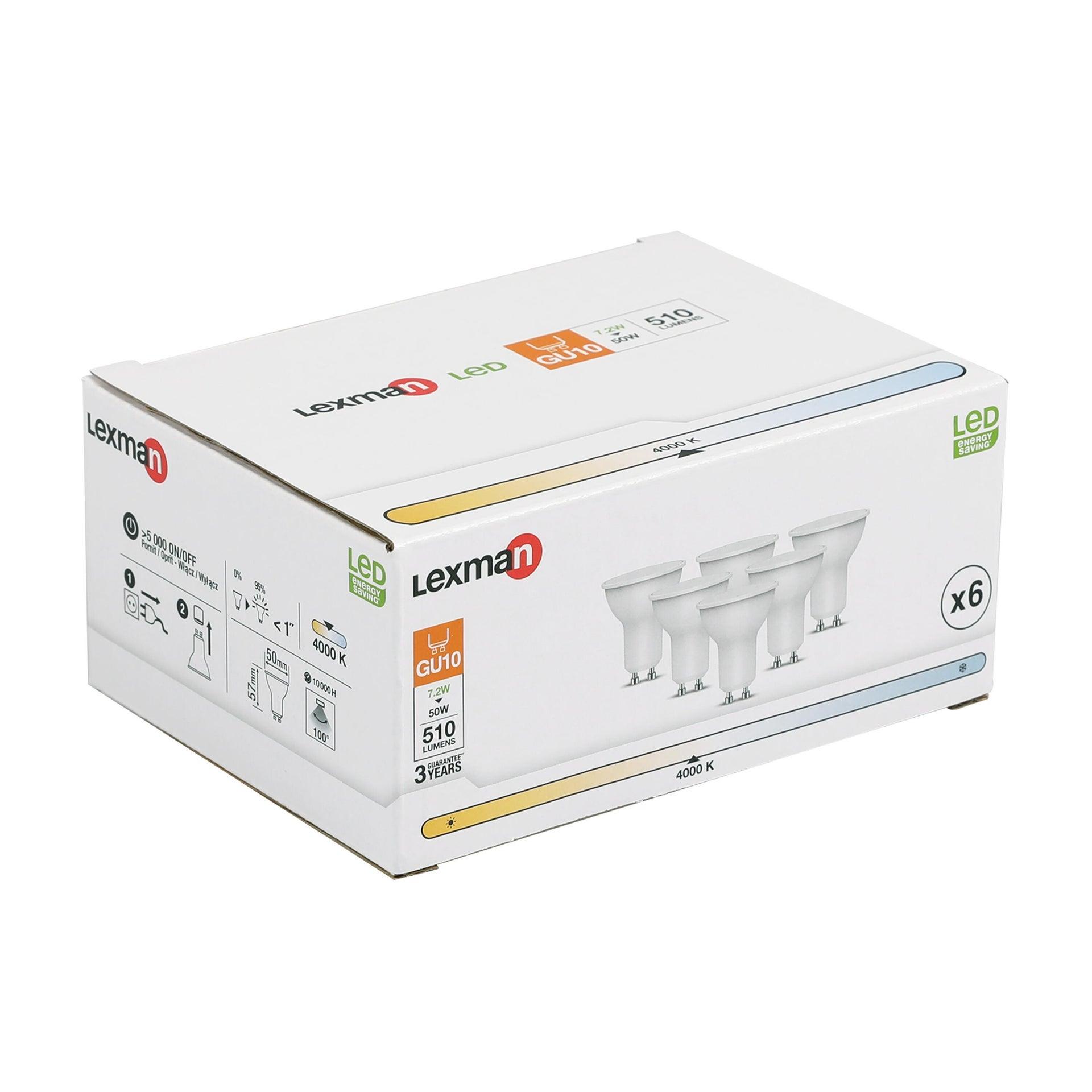 Set di 6 lampadine LED, GU10, Faretto, Smerigliato, Luce naturale, 6W=450LM (equiv 50 W), 100° , LEXMAN - 5