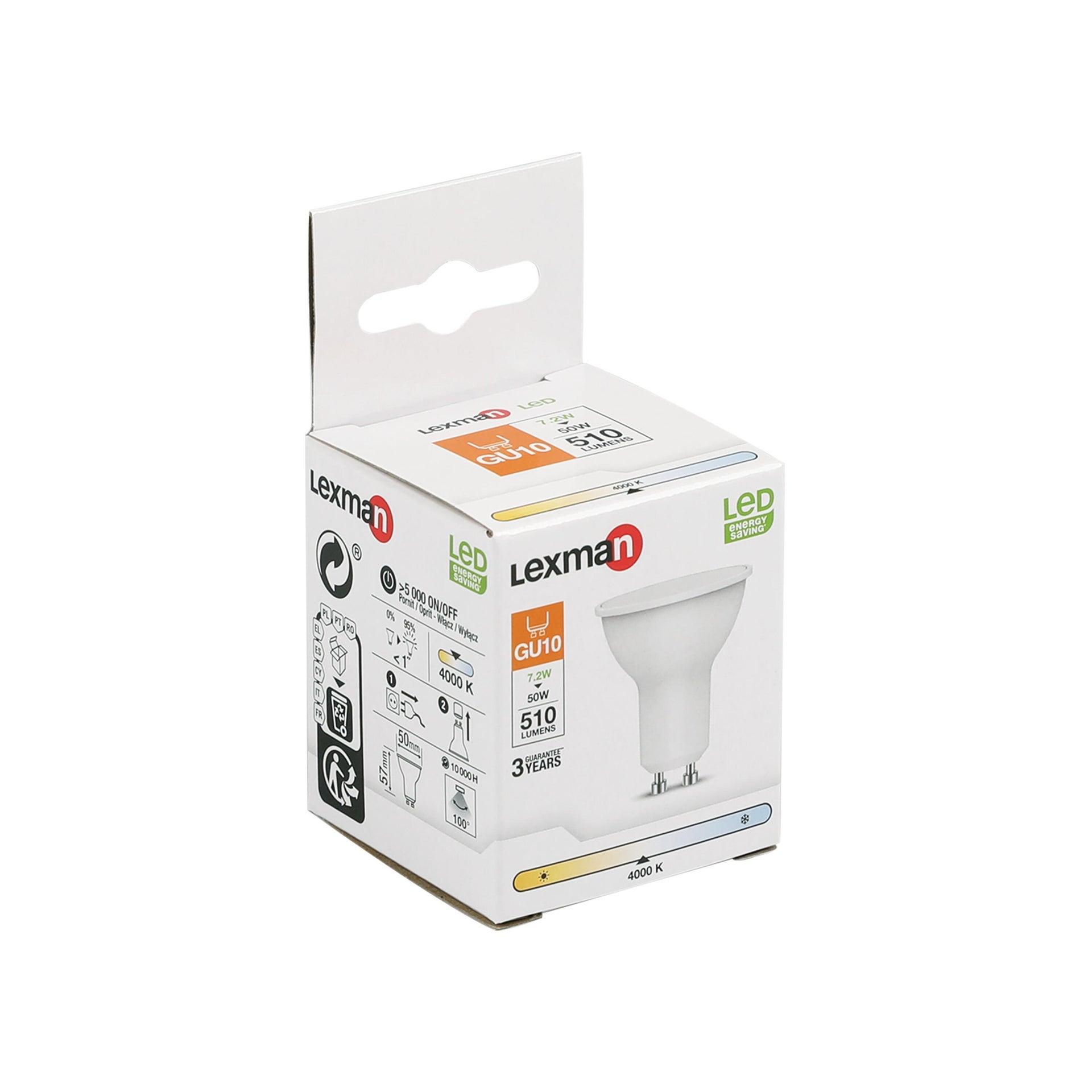 Lampadina LED, GU10, Faretto, Smerigliato, Luce naturale, 6W=450LM (equiv 50 W), 100° , LEXMAN - 4