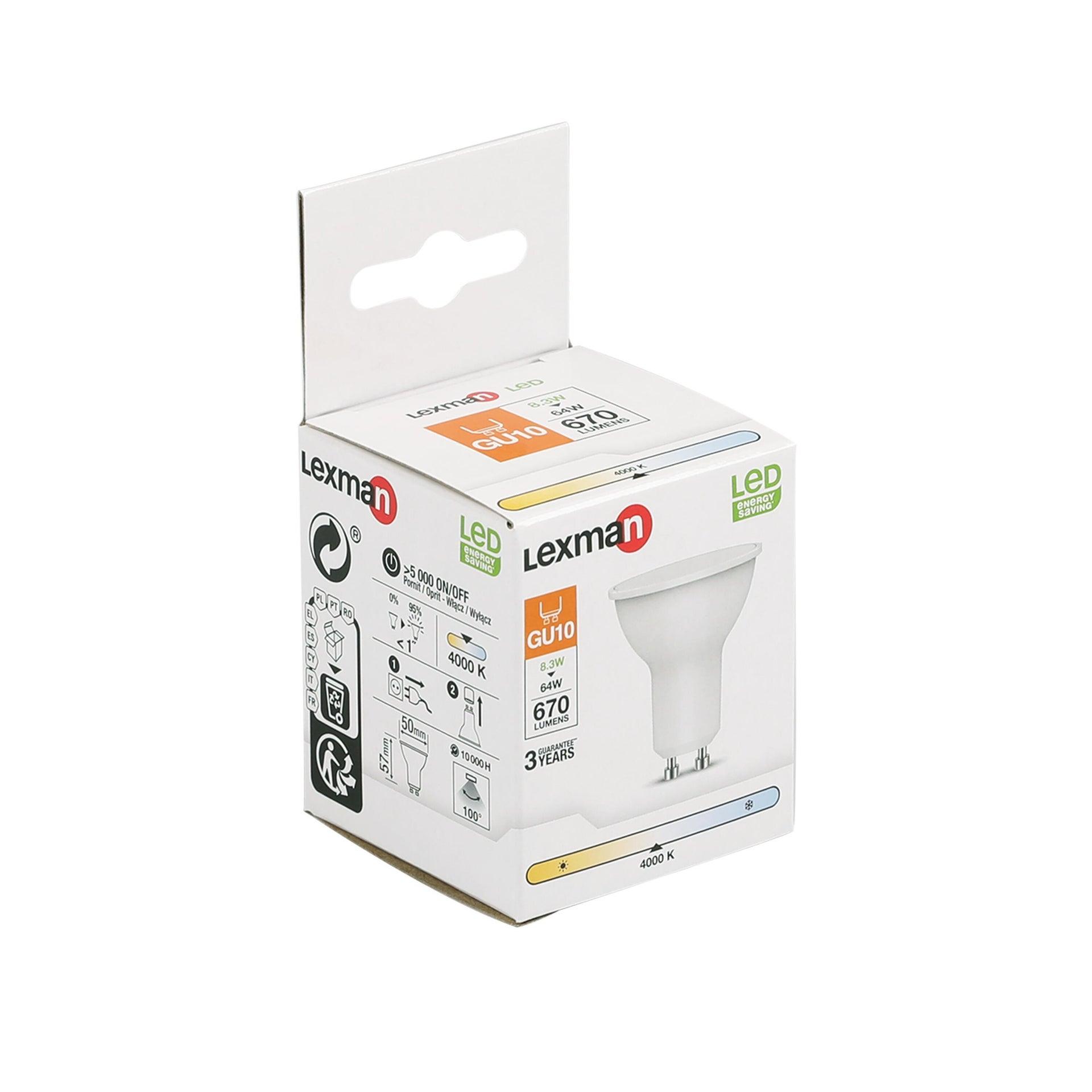 Lampadina LED, GU10, Faretto, Smerigliato, Luce naturale, 8.3W=670LM (equiv 70 W), 100° , LEXMAN - 4
