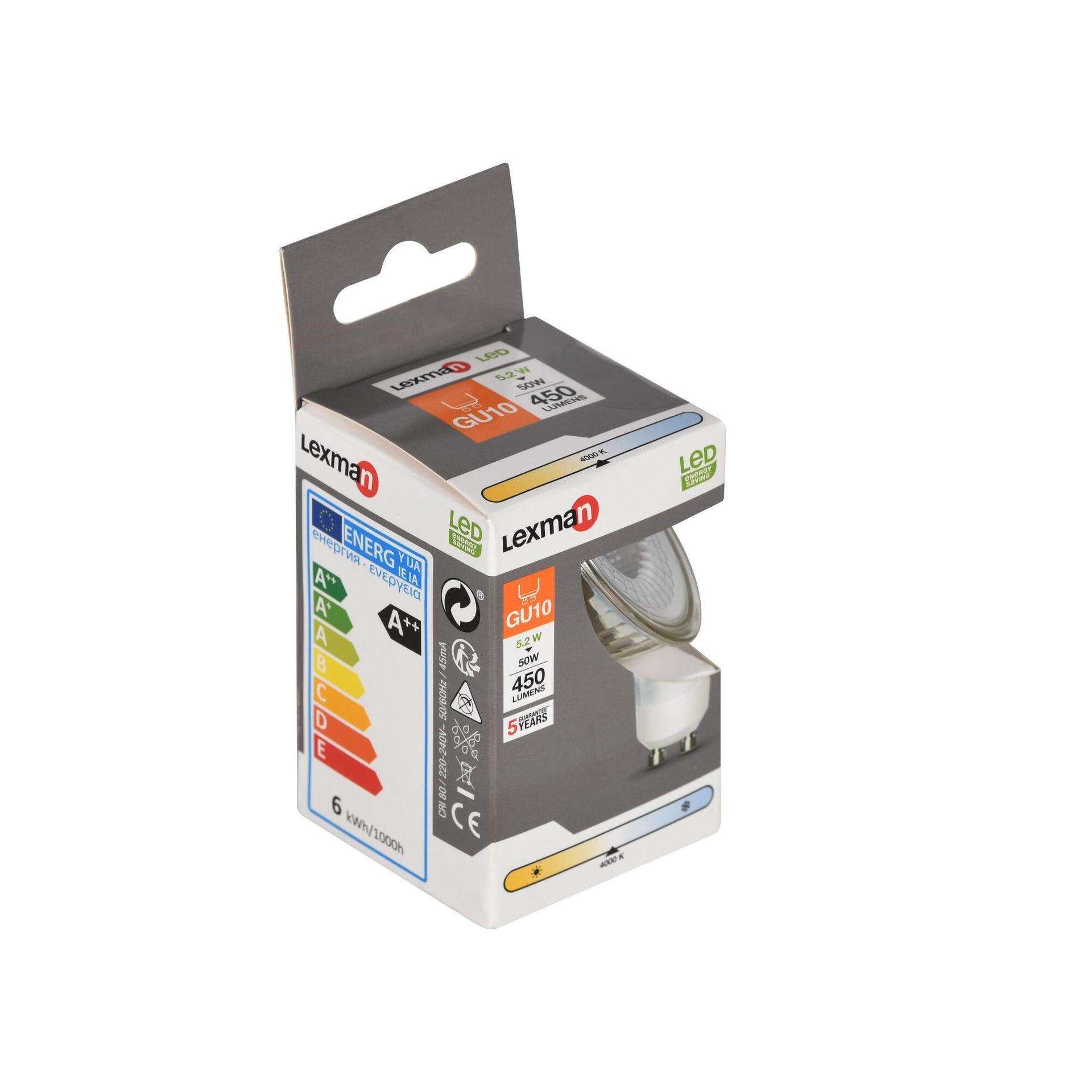 Lampadina LED, GU10, Faretto, Trasparente, Luce naturale, 5.2W=345LM (equiv 50 W), 100° , LEXMAN - 3