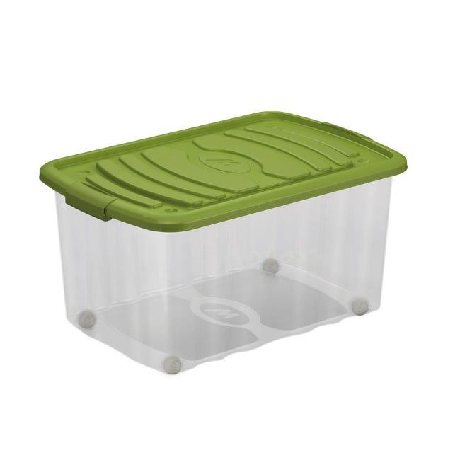Contenitore Roll Box L 59 x H 30 x P 39 cm trasparente e verde - 1
