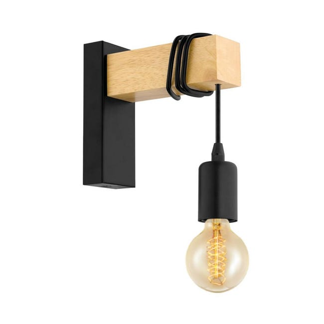Applique industriale Townshend nero e marrone, in metallo, 6.5x18.5 cm, EGLO - 1