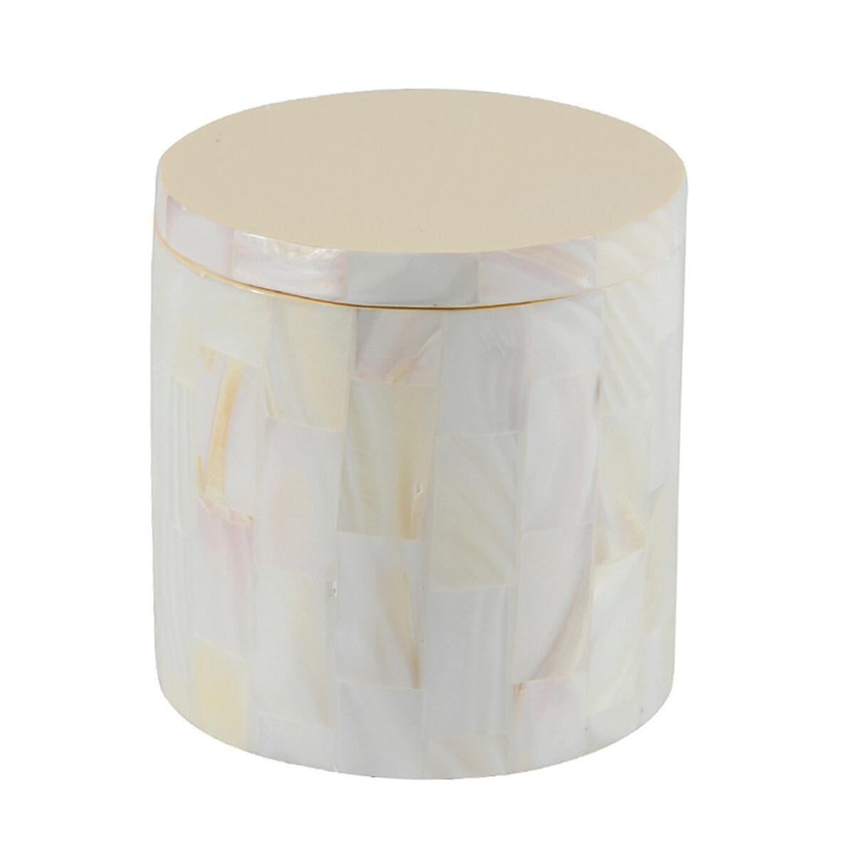 Porta cotone Pearl in poliresina avorio