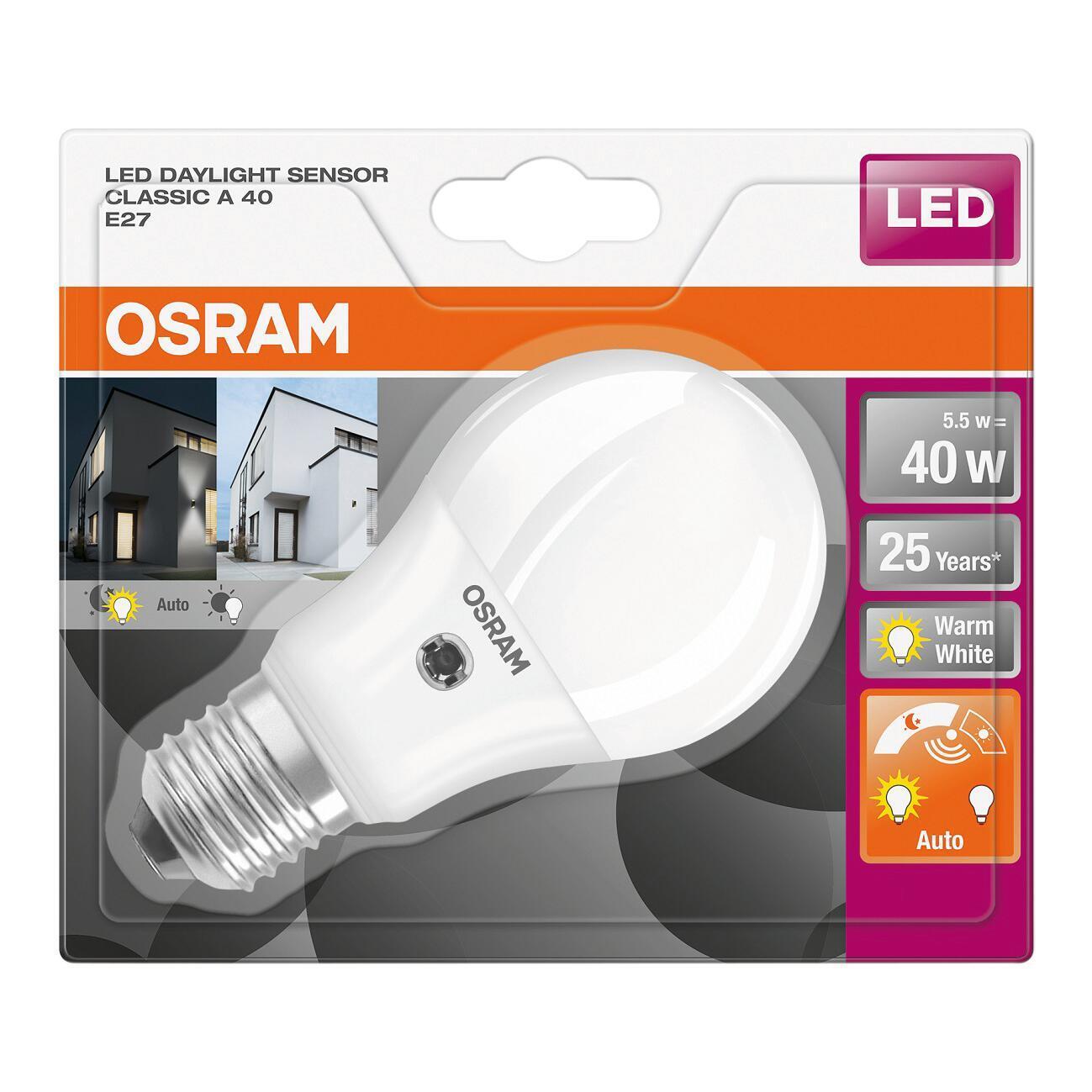 Lampadina LED, E27, Goccia, Opaco, Luce calda, 5.5W=470LM (equiv 40 W), 200° , OSRAM - 3