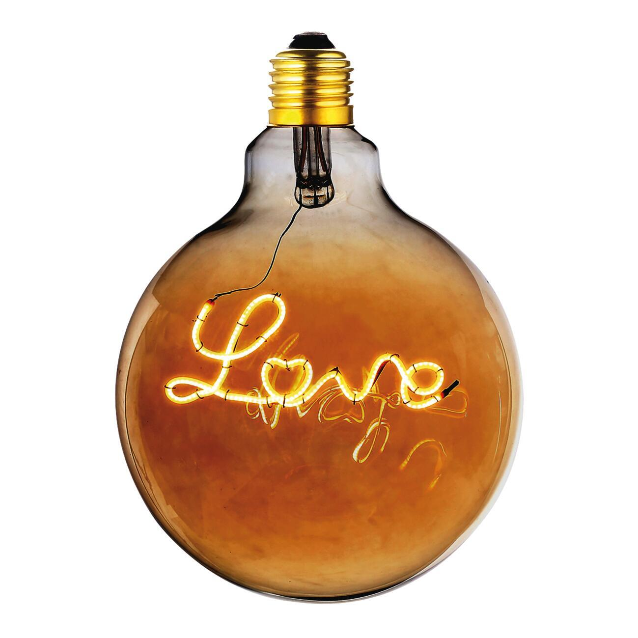 Lampadina decorativa LED, Love, E27, Globo, Ambra, Luce calda, 4W=180LM (equiv 20 W), 360° - 1