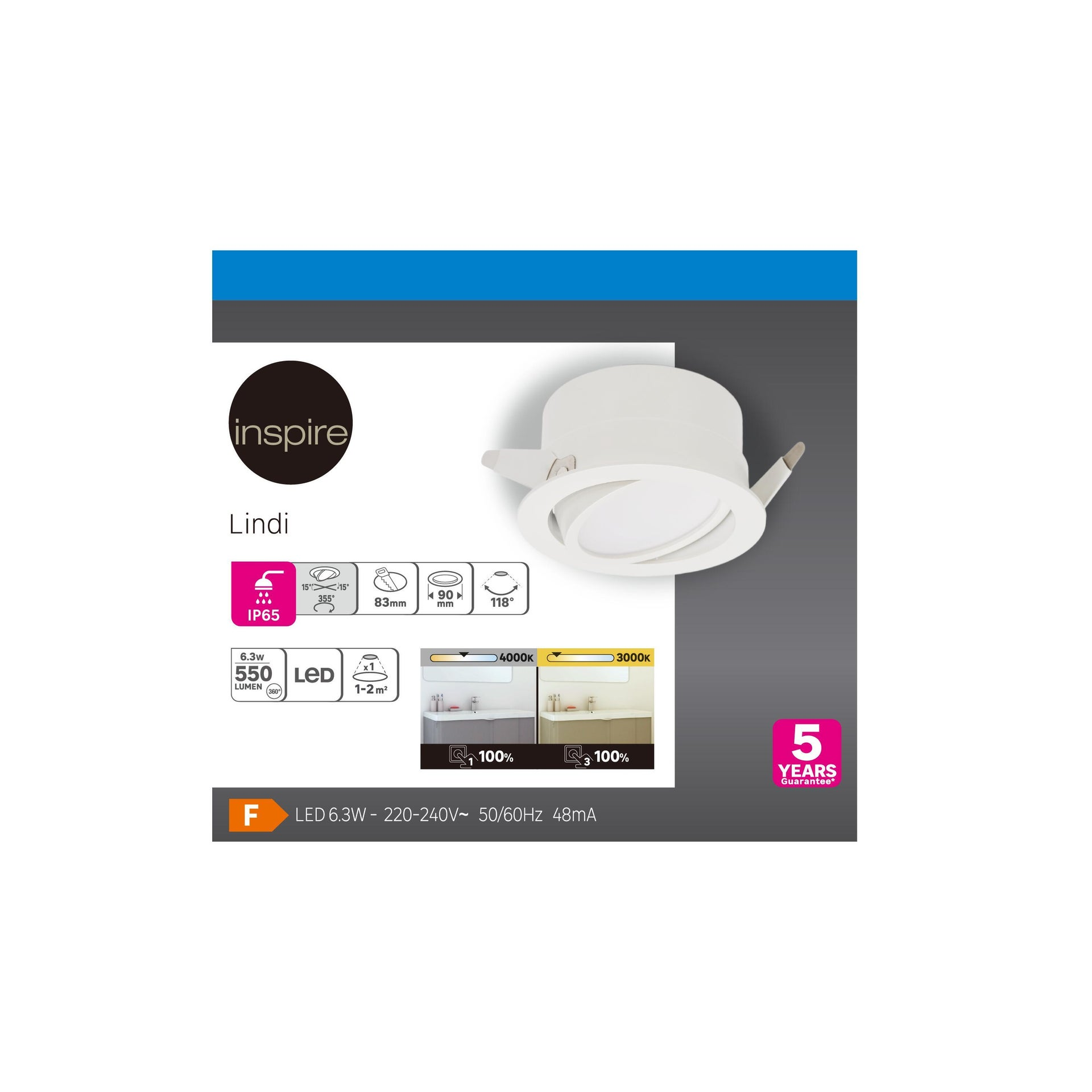 Faretto orientabile da incasso tondo Ori Lindi bianco, diam. 9 cm LED integrato 6.3W 550LM IP65 INSPIRE - 8