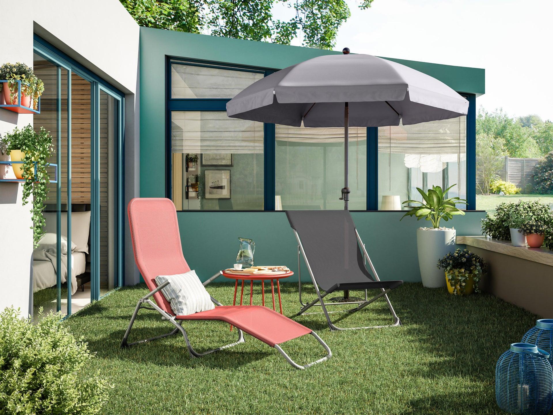 Sedia da giardino senza cuscino pieghevole in acciaio Biganos colore antracite - 6