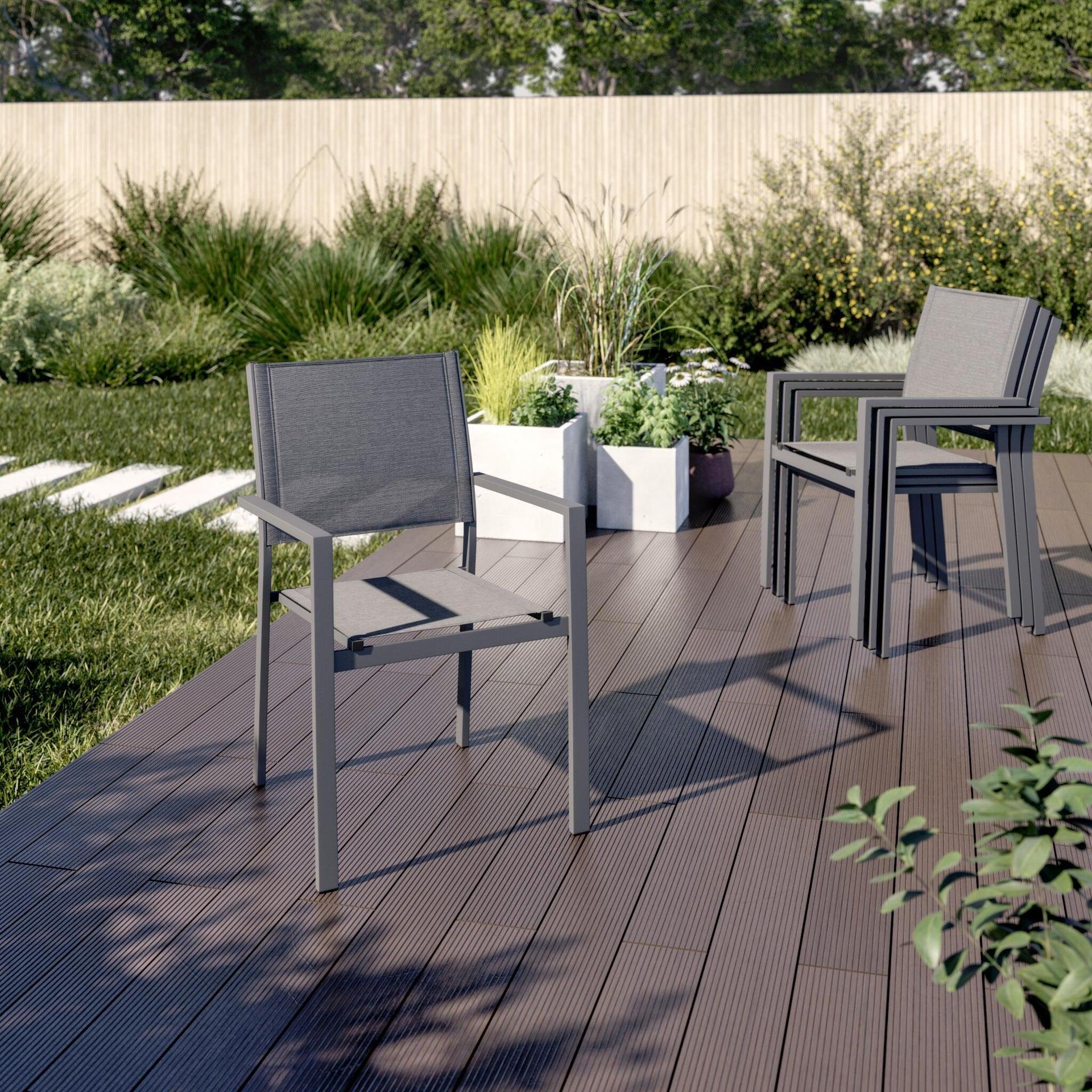 Sedia con braccioli senza cuscino in alluminio Lisbon colore grigio - 5
