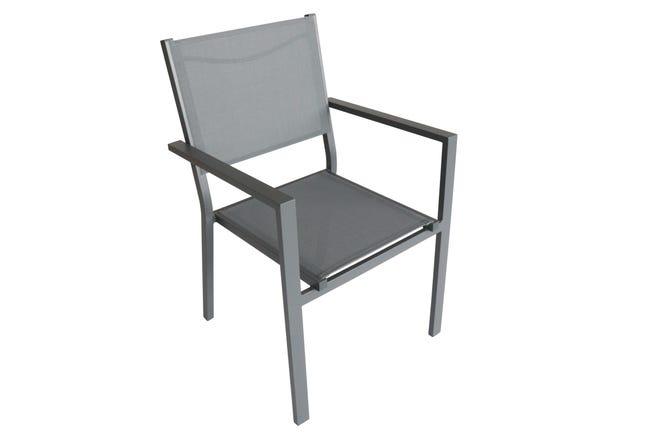 Sedia con braccioli senza cuscino in alluminio Lisbon colore grigio - 1