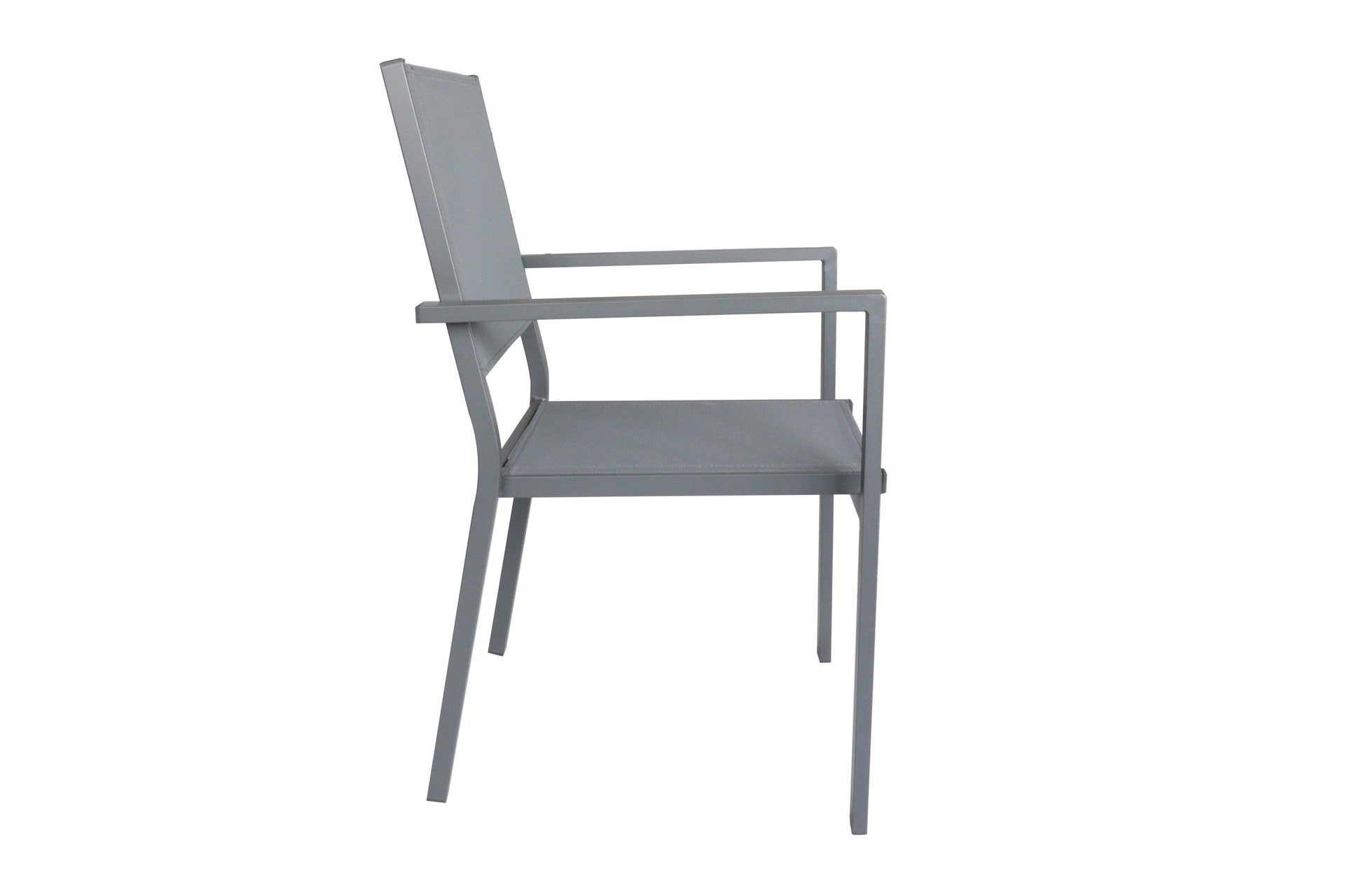 Sedia con braccioli senza cuscino in alluminio Lisbon colore grigio - 8