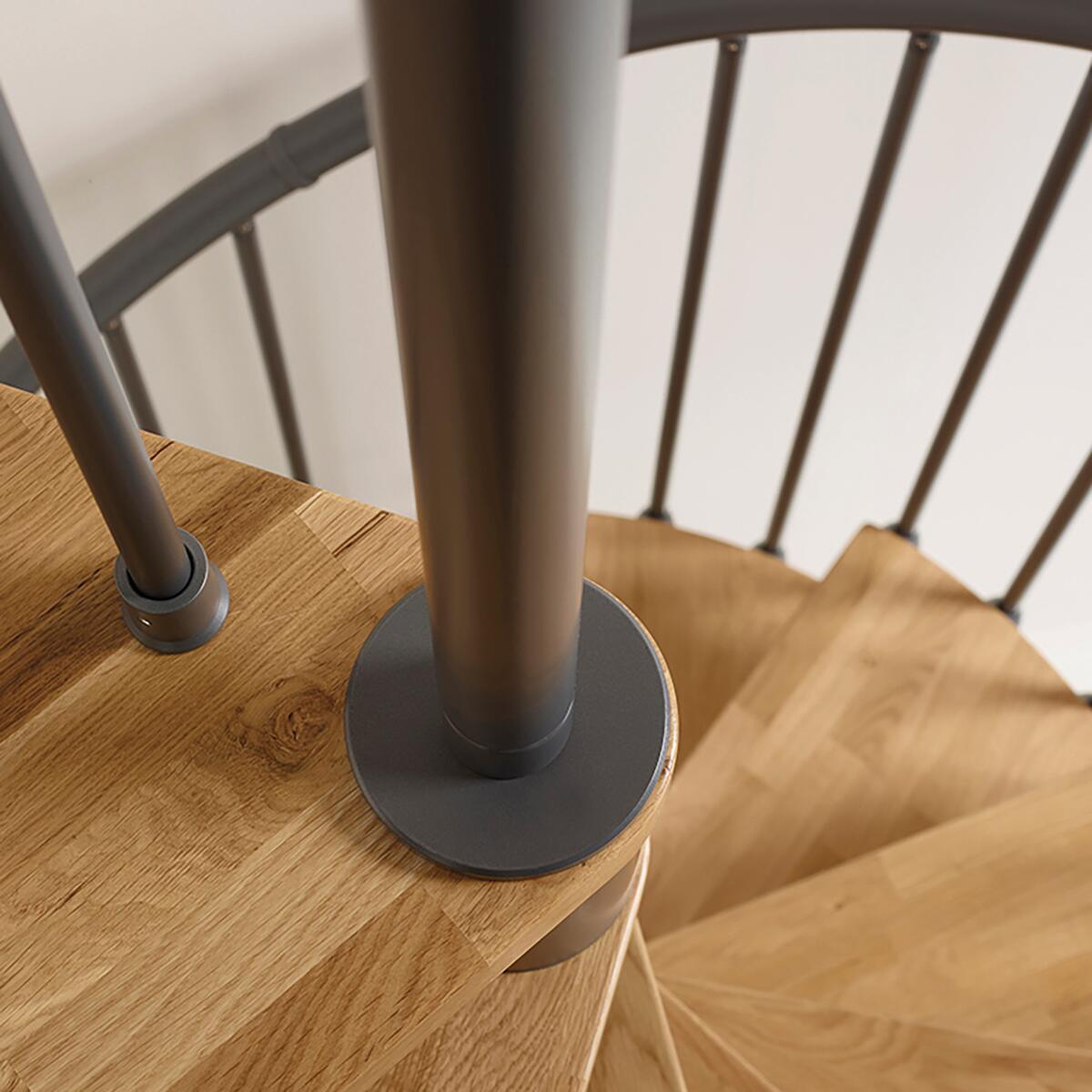 Scala a chiocciola tonda Oak FONTANOT L 130 cm, gradino naturale, struttura antracite - 2