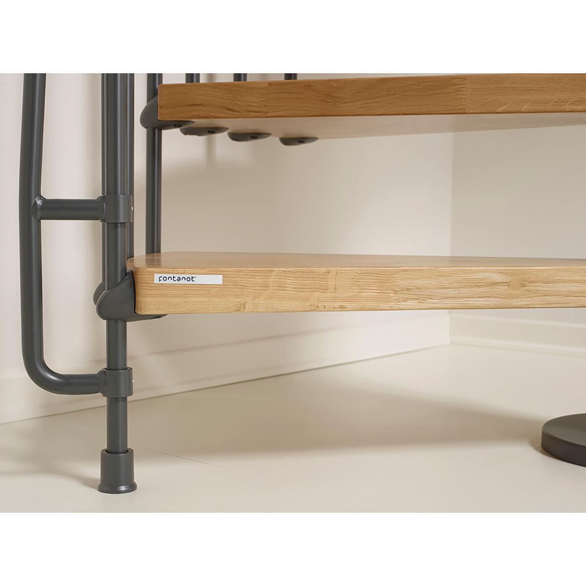 Scala a chiocciola tonda Oak FONTANOT L 130 cm, gradino naturale, struttura antracite - 6