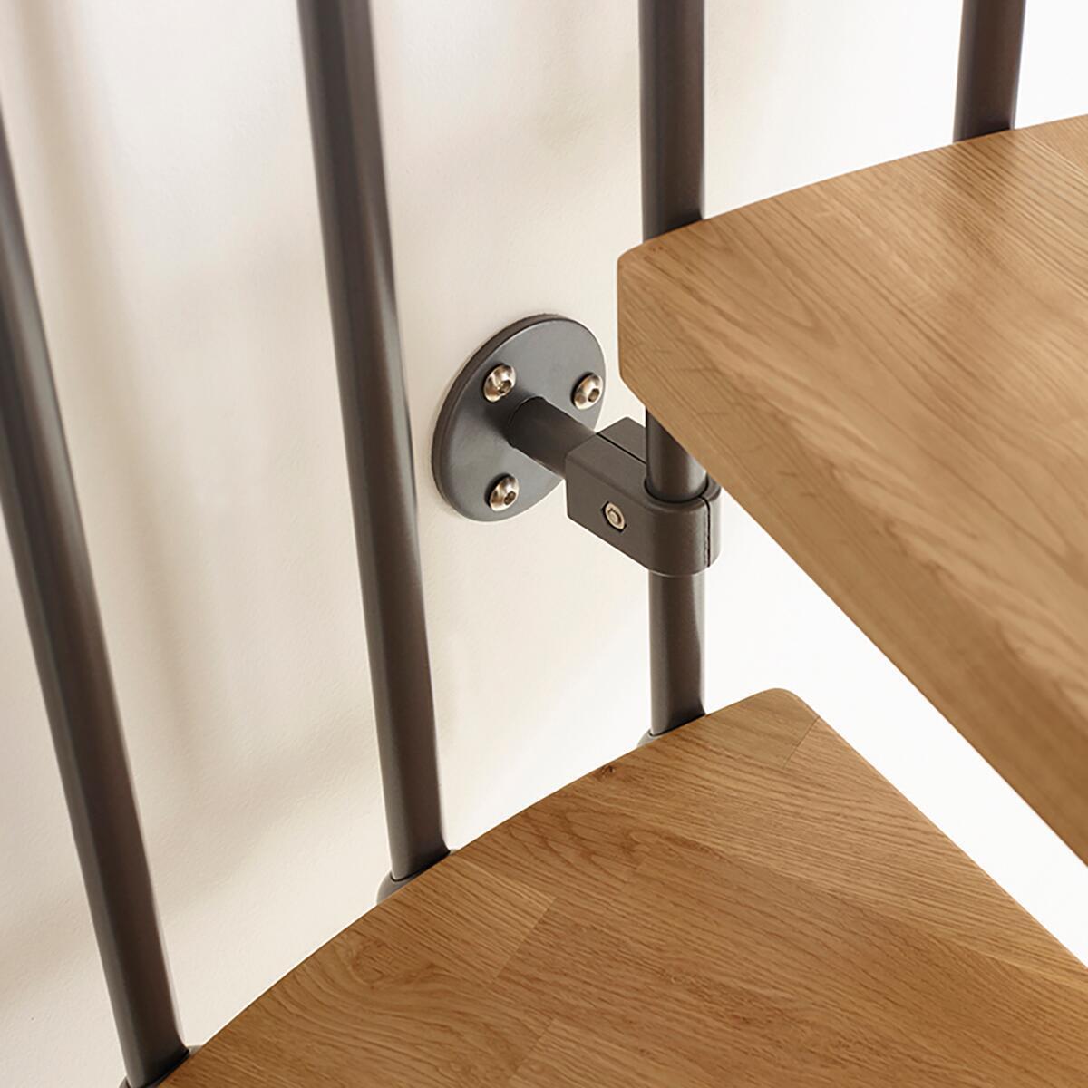 Scala a chiocciola tonda Oak FONTANOT L 130 cm, gradino naturale, struttura antracite - 9