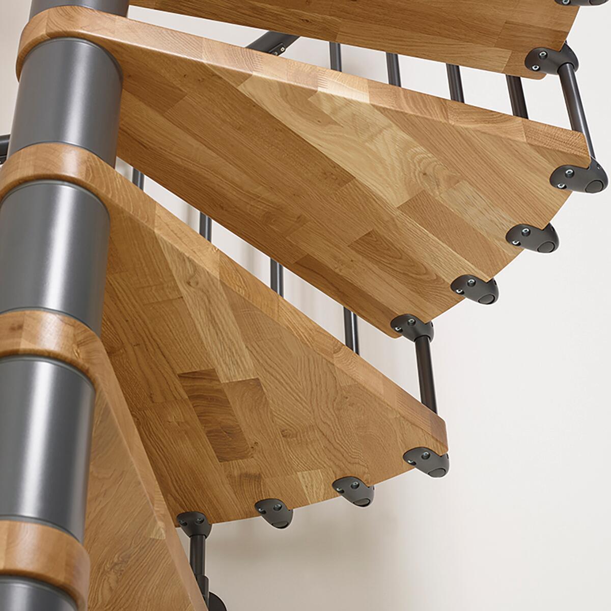 Scala a chiocciola tonda Oak FONTANOT L 130 cm, gradino naturale, struttura antracite - 3