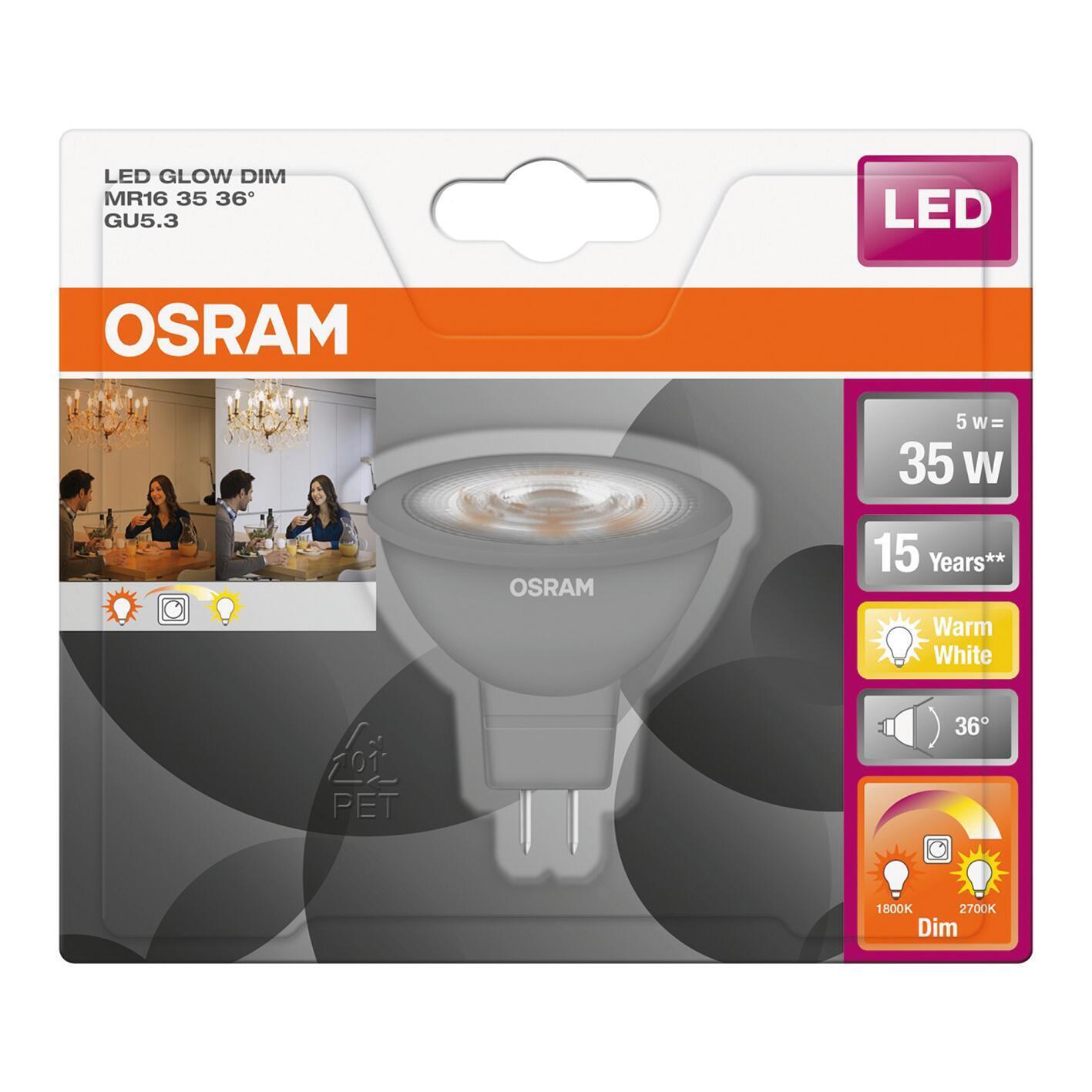 Lampadina LED, GU5.3, Faretto, Opaco, Luce calda, 5W=345LM (equiv 35 W), 36° , OSRAM - 6
