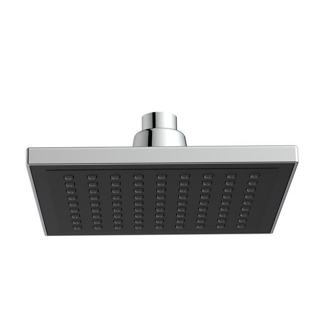 Soffione doccia Square 15 x 15 cm in abs argento - nero cromato - 1