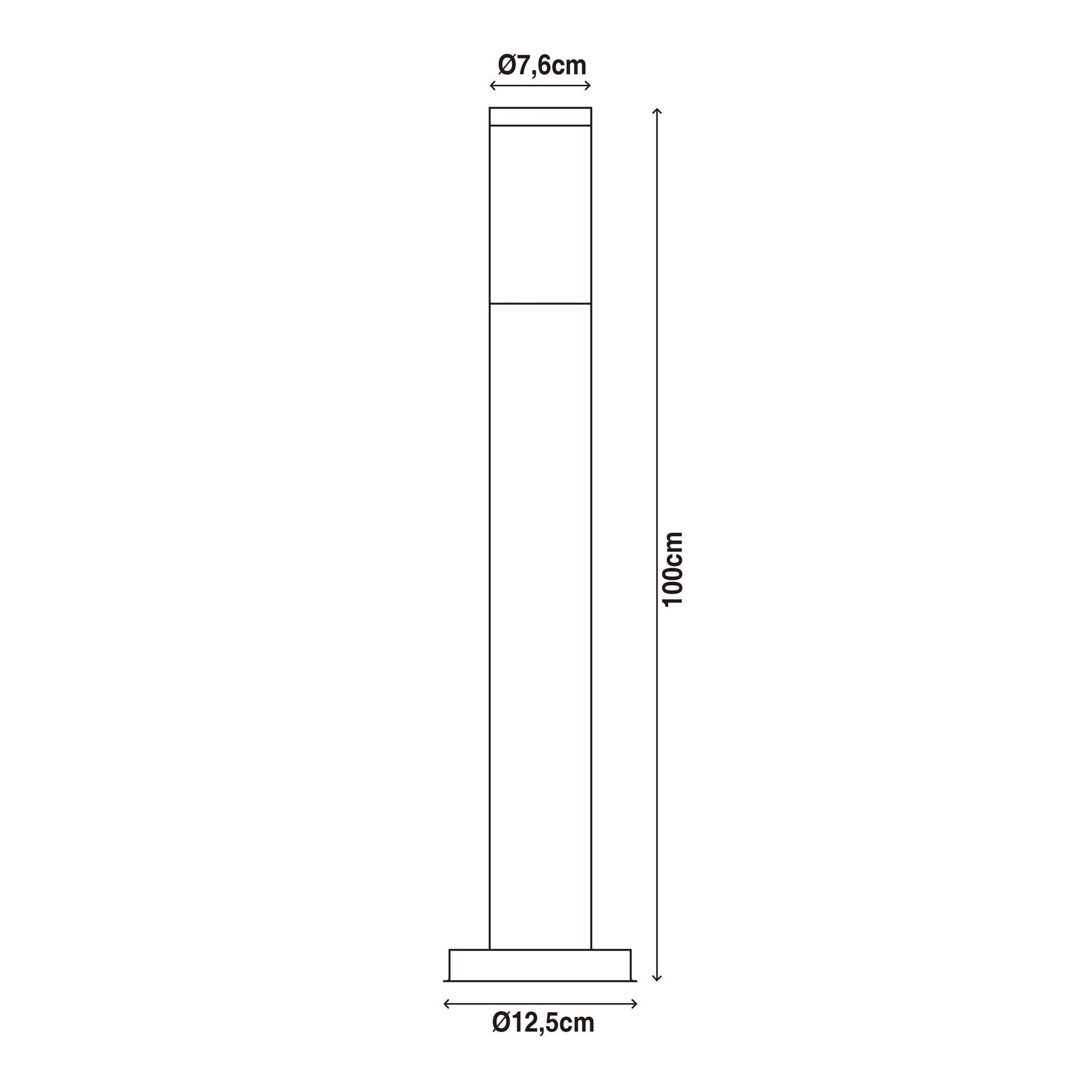 Lampione Travis H100.0 cm in acciaio inossidabile, nero, E27 1x MAX 40W IP44 INSPIRE - 6